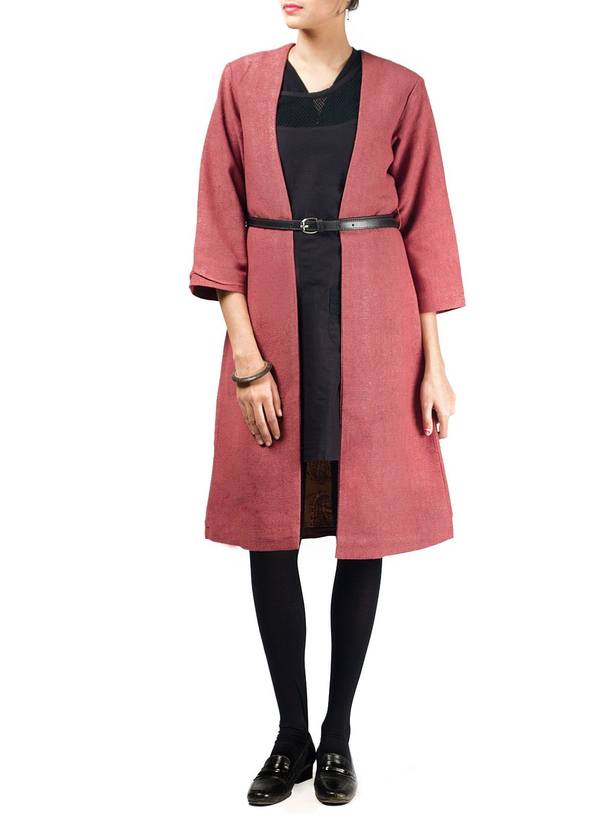 Maroon noile silk full sleeves long winter jacket