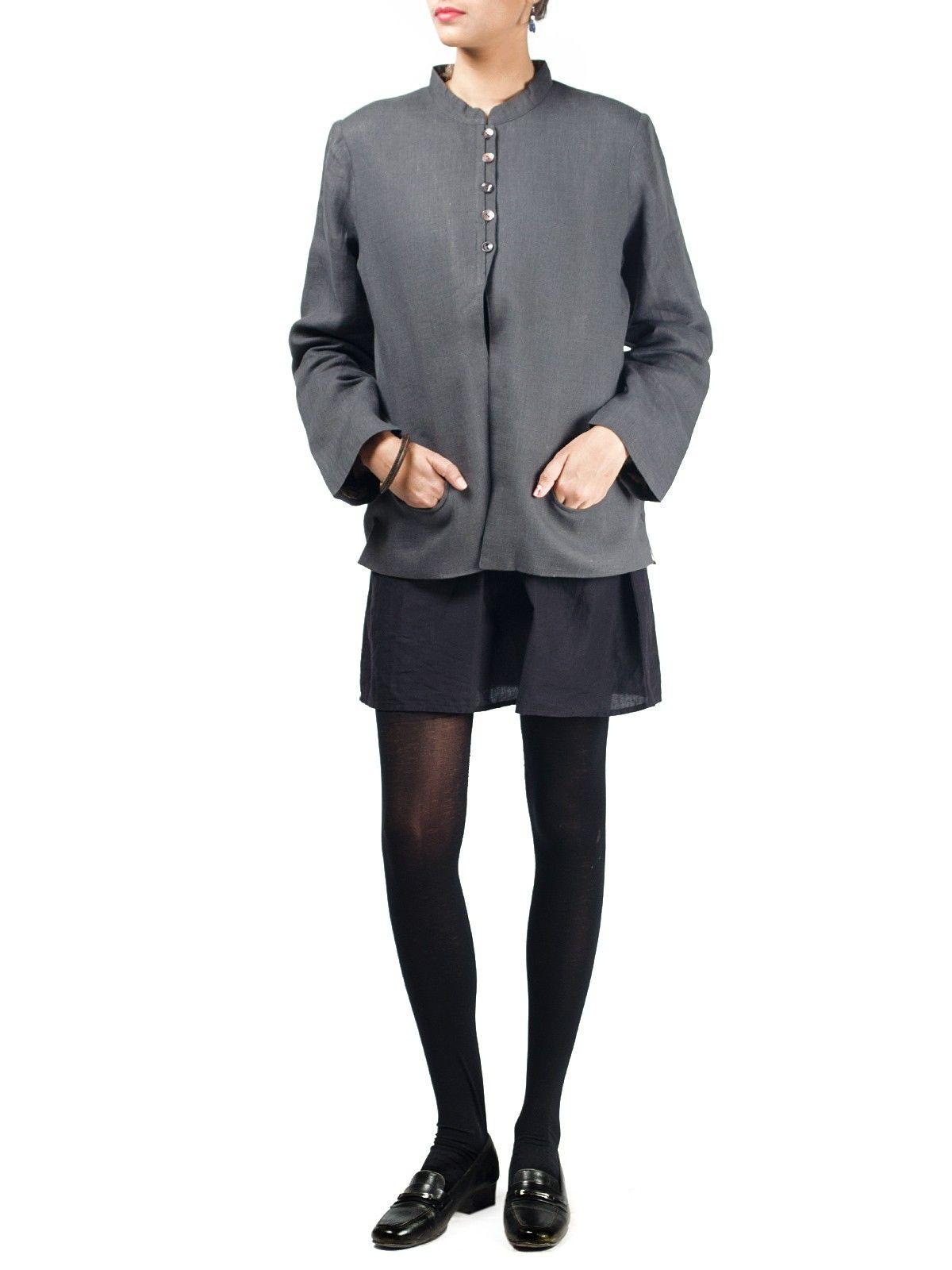 Grey linen full sleeves short winter jacket