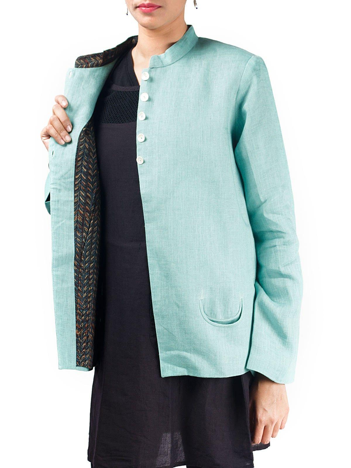 Light blue linen full sleeves short winter jacket