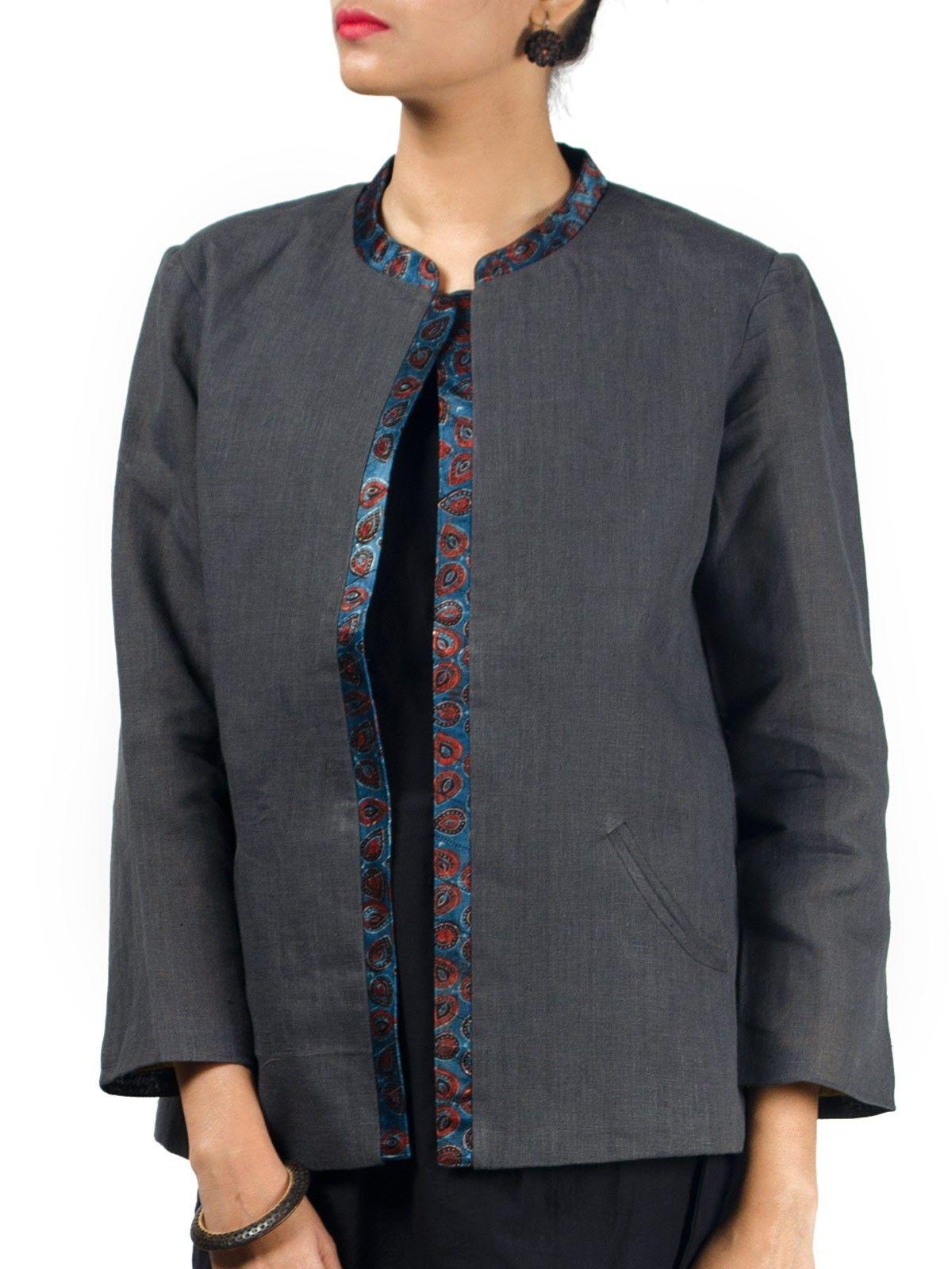 Grey linen full sleeves front open short winter jacket