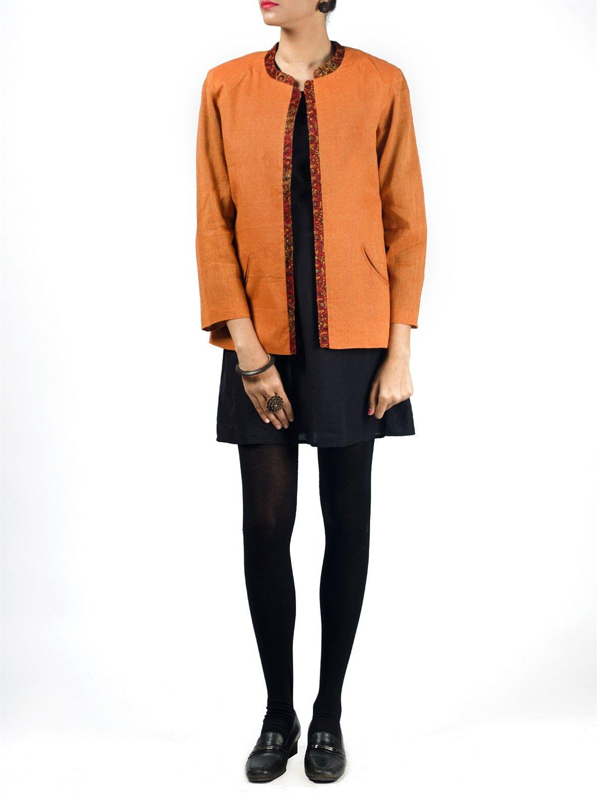 Peach linen full sleeves front open short winter jacket