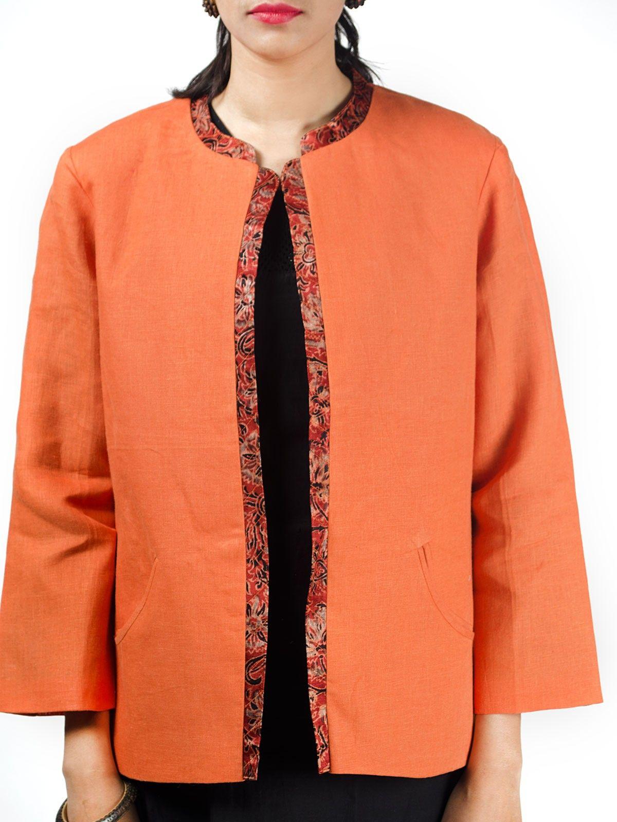 Orange linen full sleeves short winter jacket