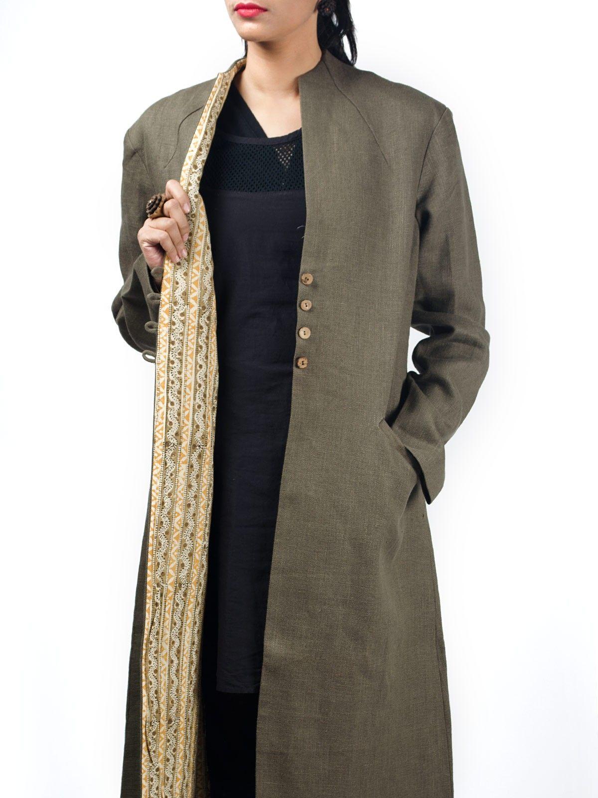 Olive green linen full sleeves long winter jacket