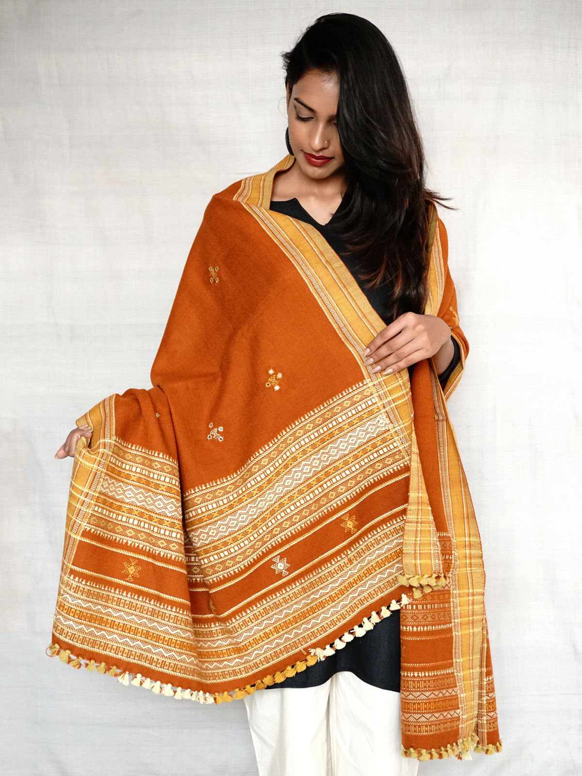 Rust and beige embroided shawl