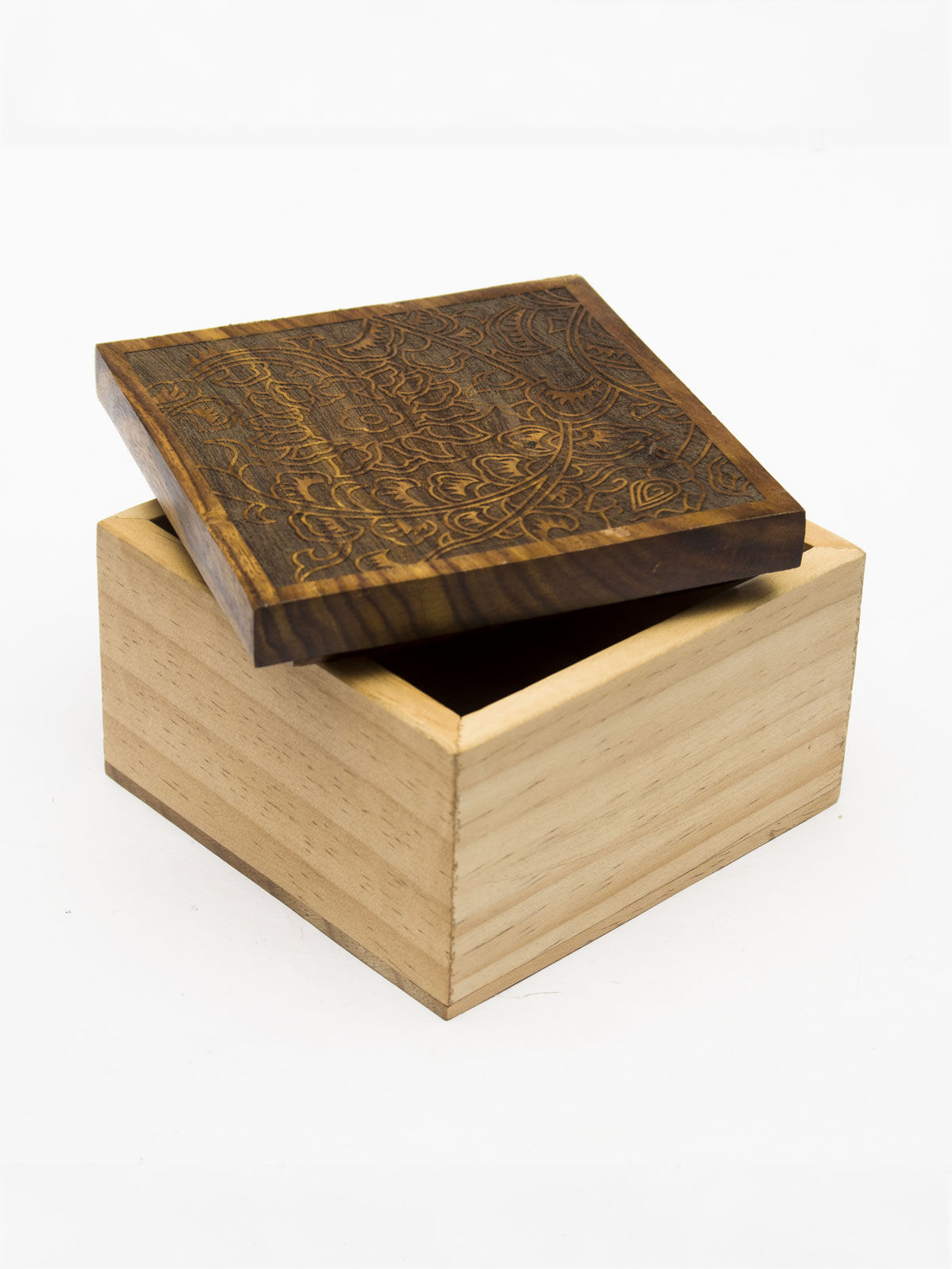 Two colored box with carved lid