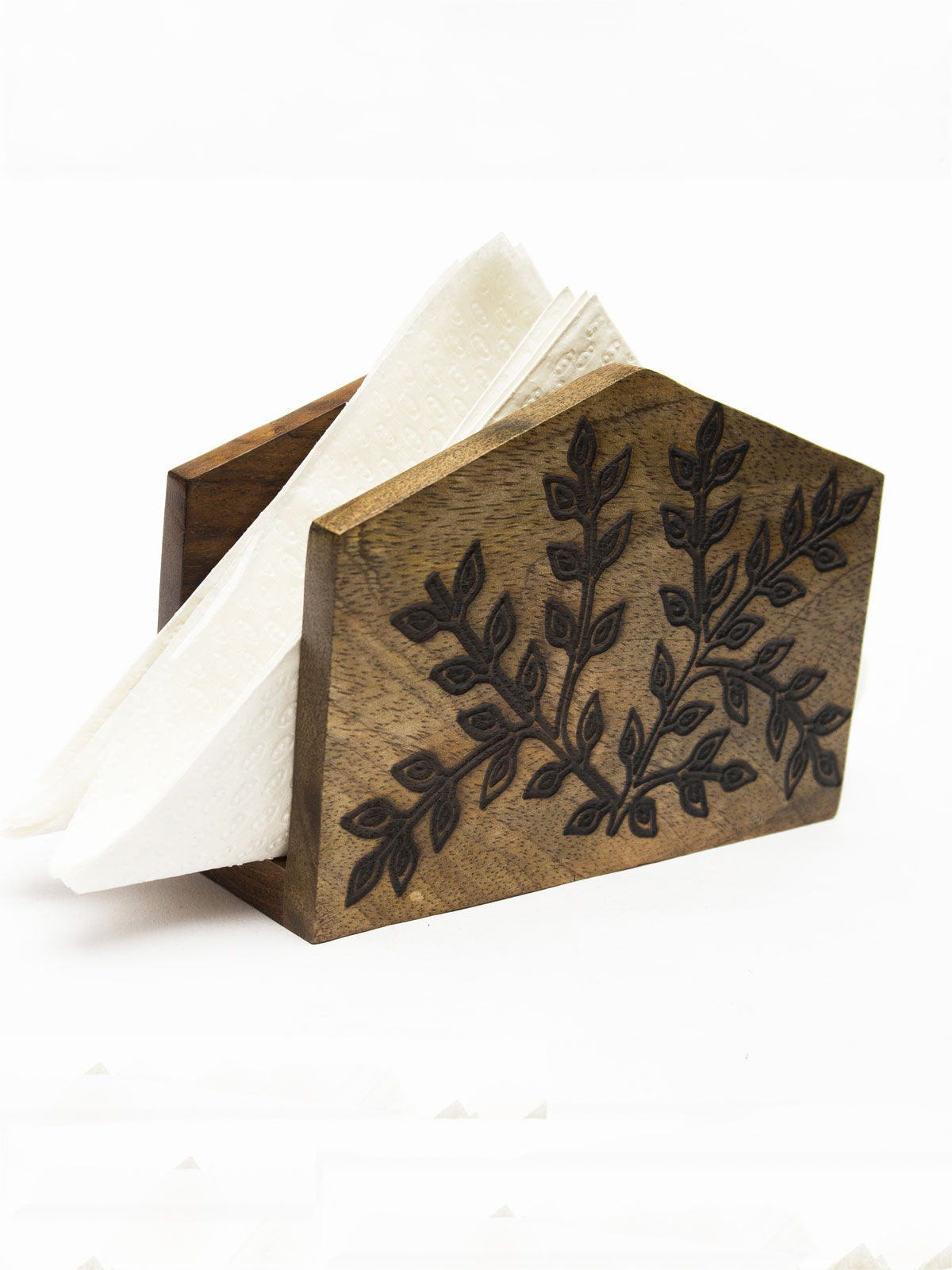Napkin holder with floral design