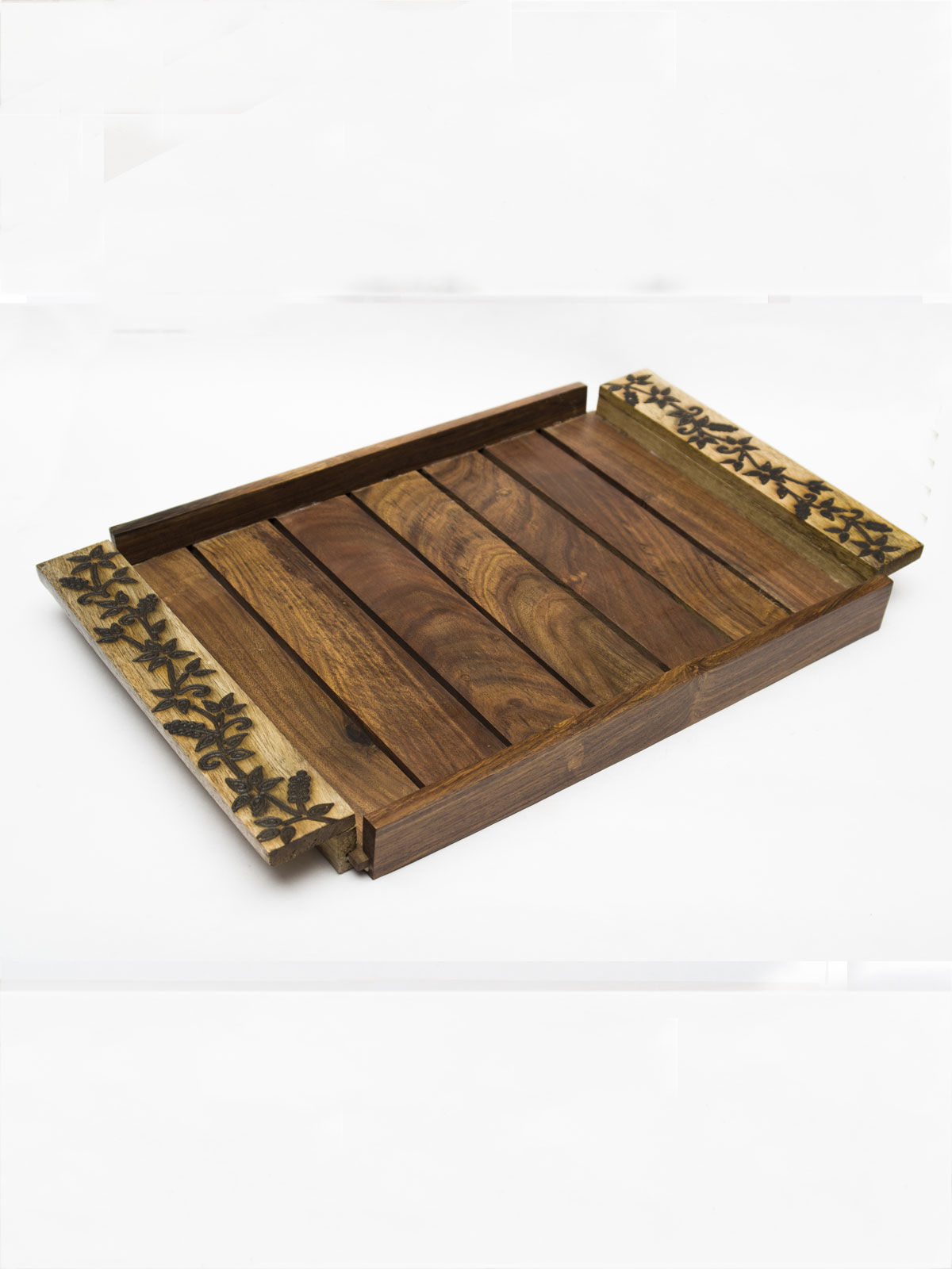 Slatted floral design tray