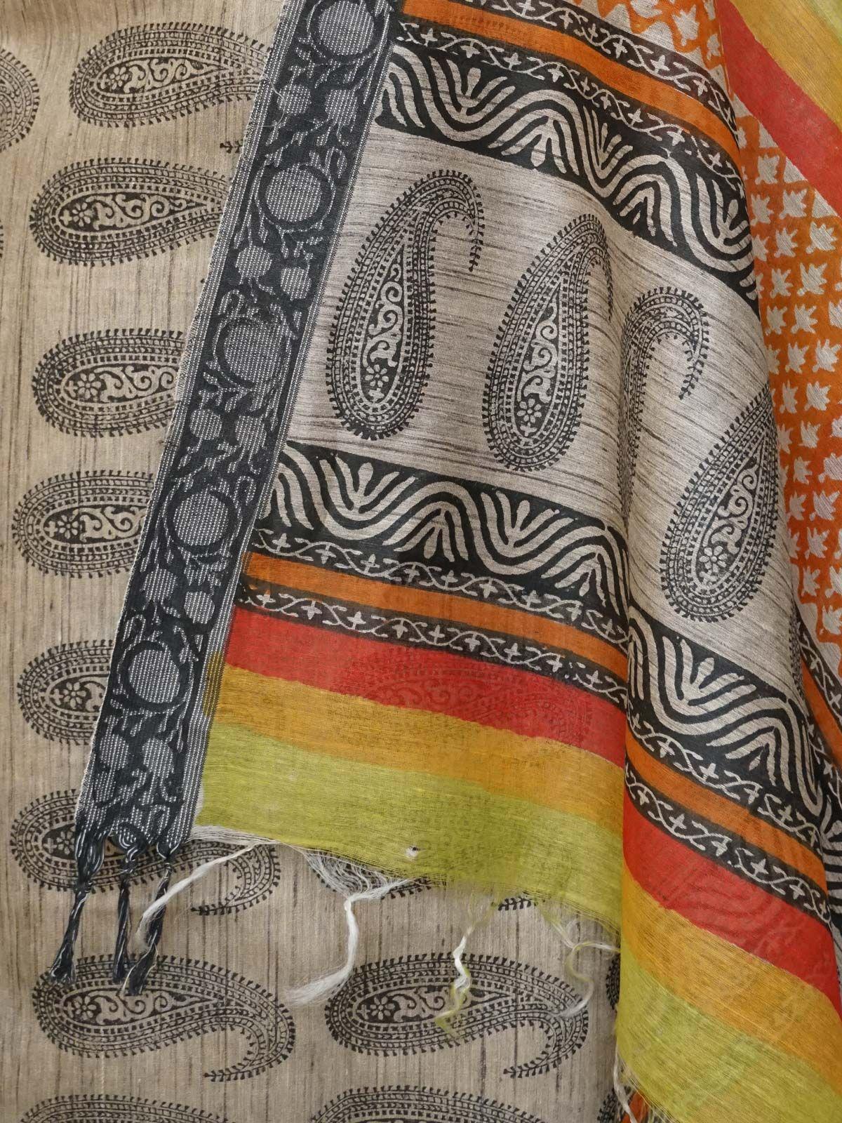 Multicoloured tussar silk dress material with muticolored tusser  dupatta