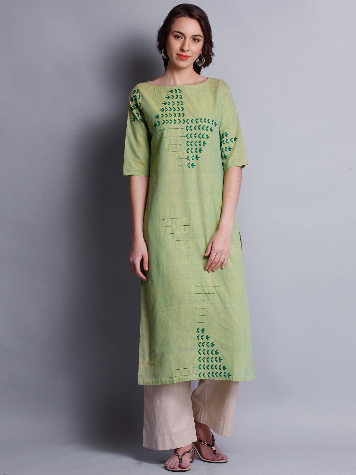 Patti work embroidered green long kurta