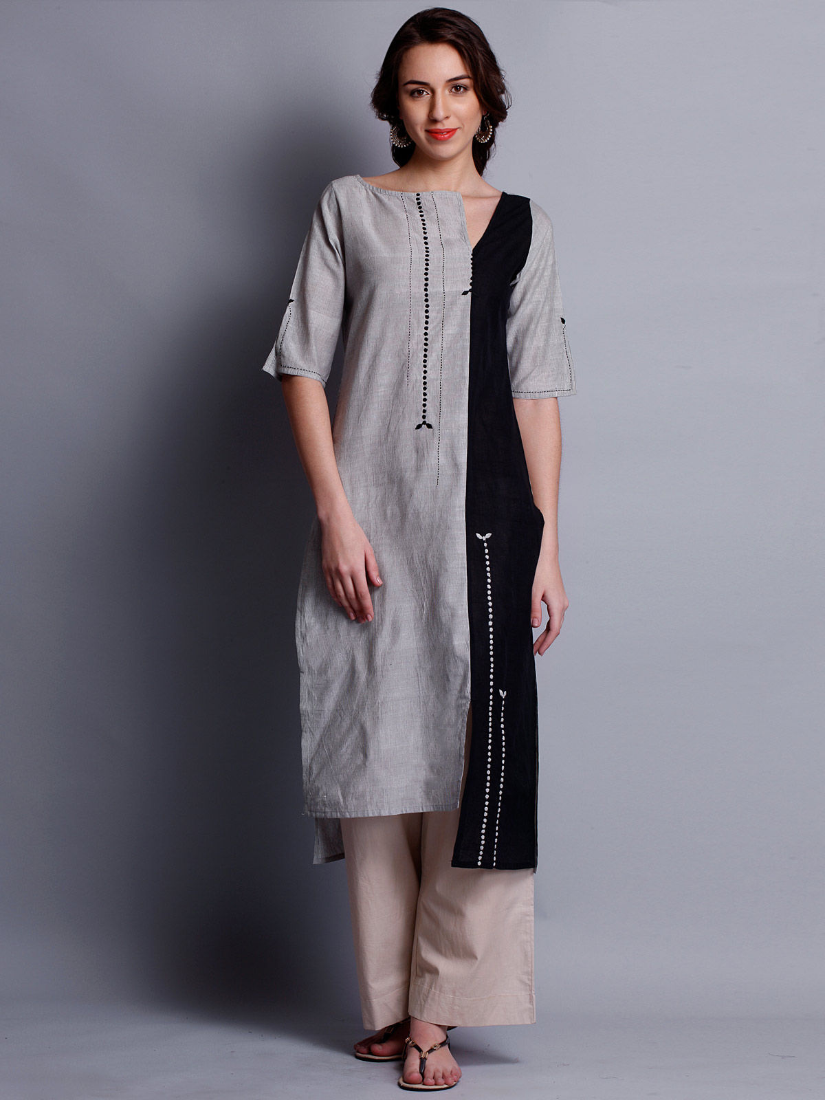 Patti work embroidered grey & black long kurta
