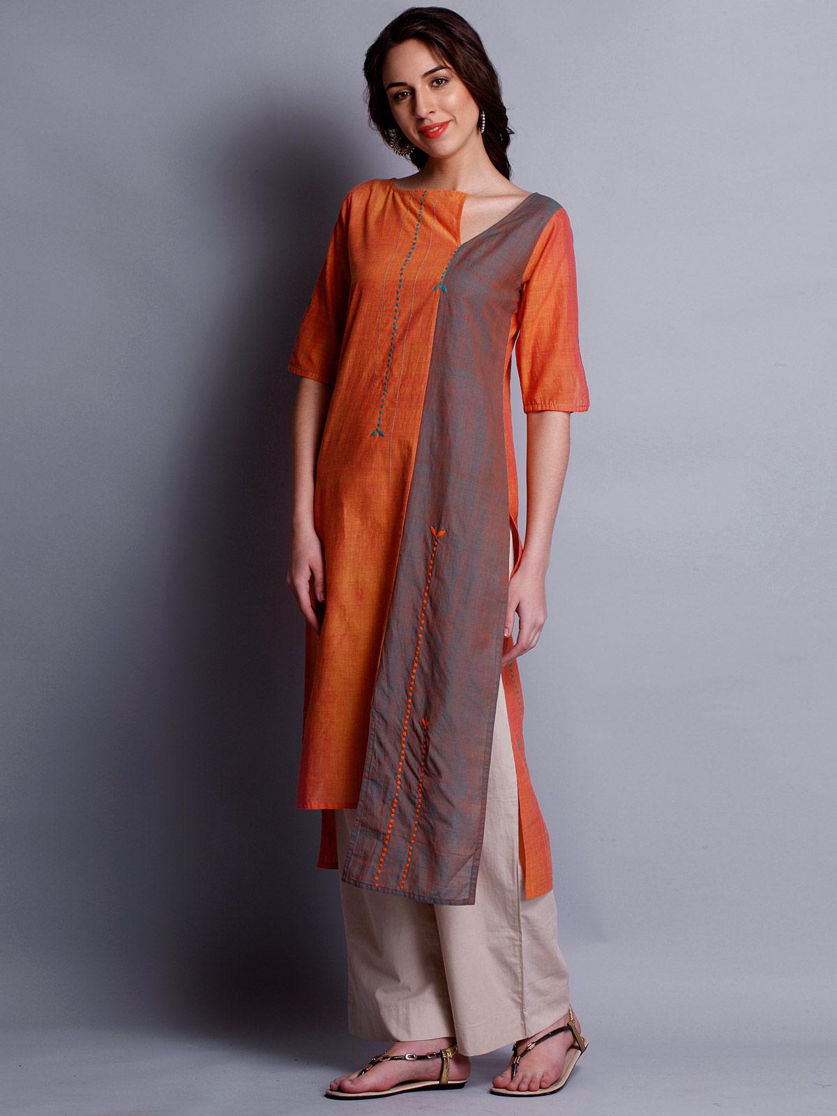 Patti work embroidered orange long kurta