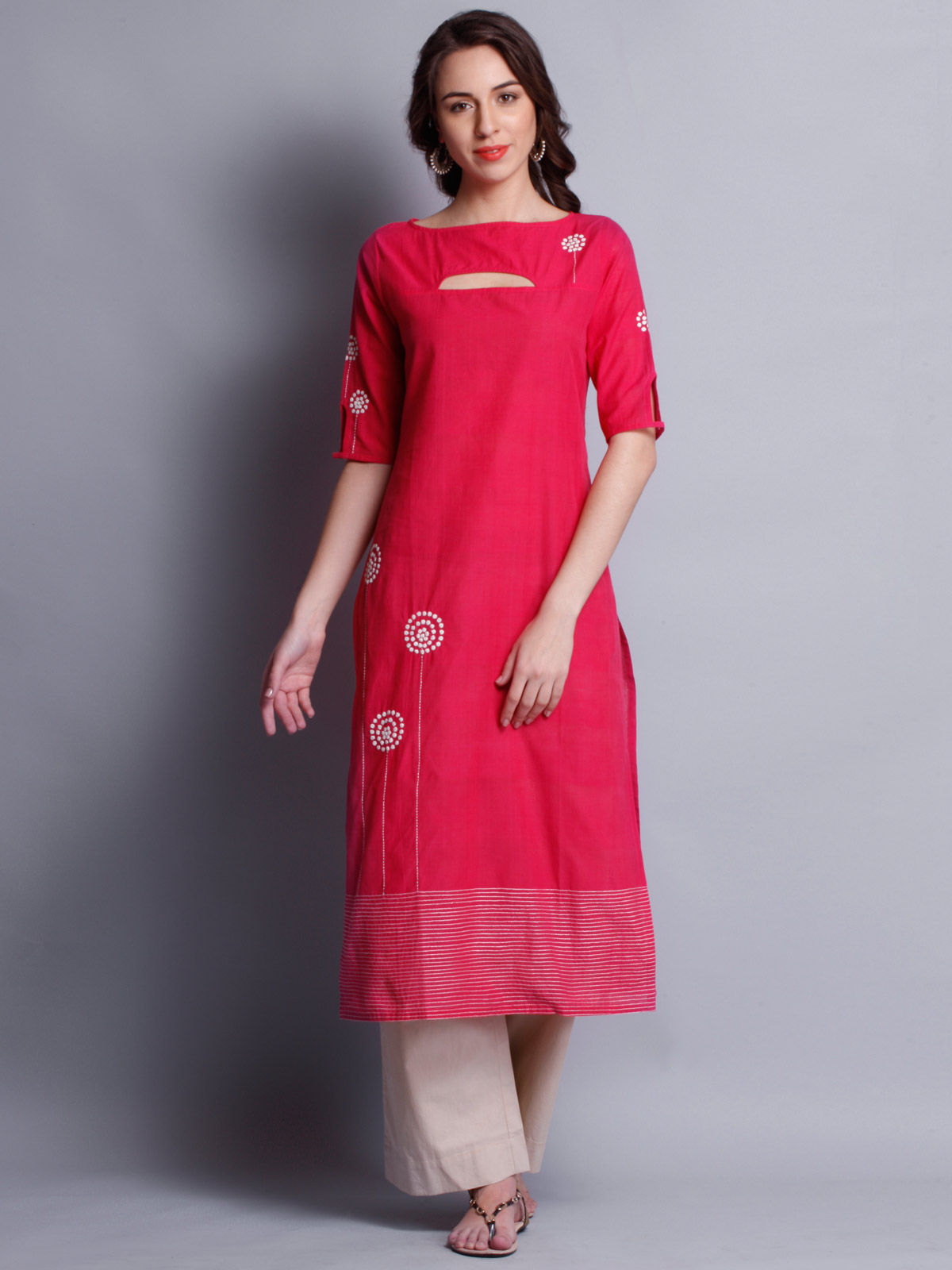 Patti work embroidered pink  long kurta