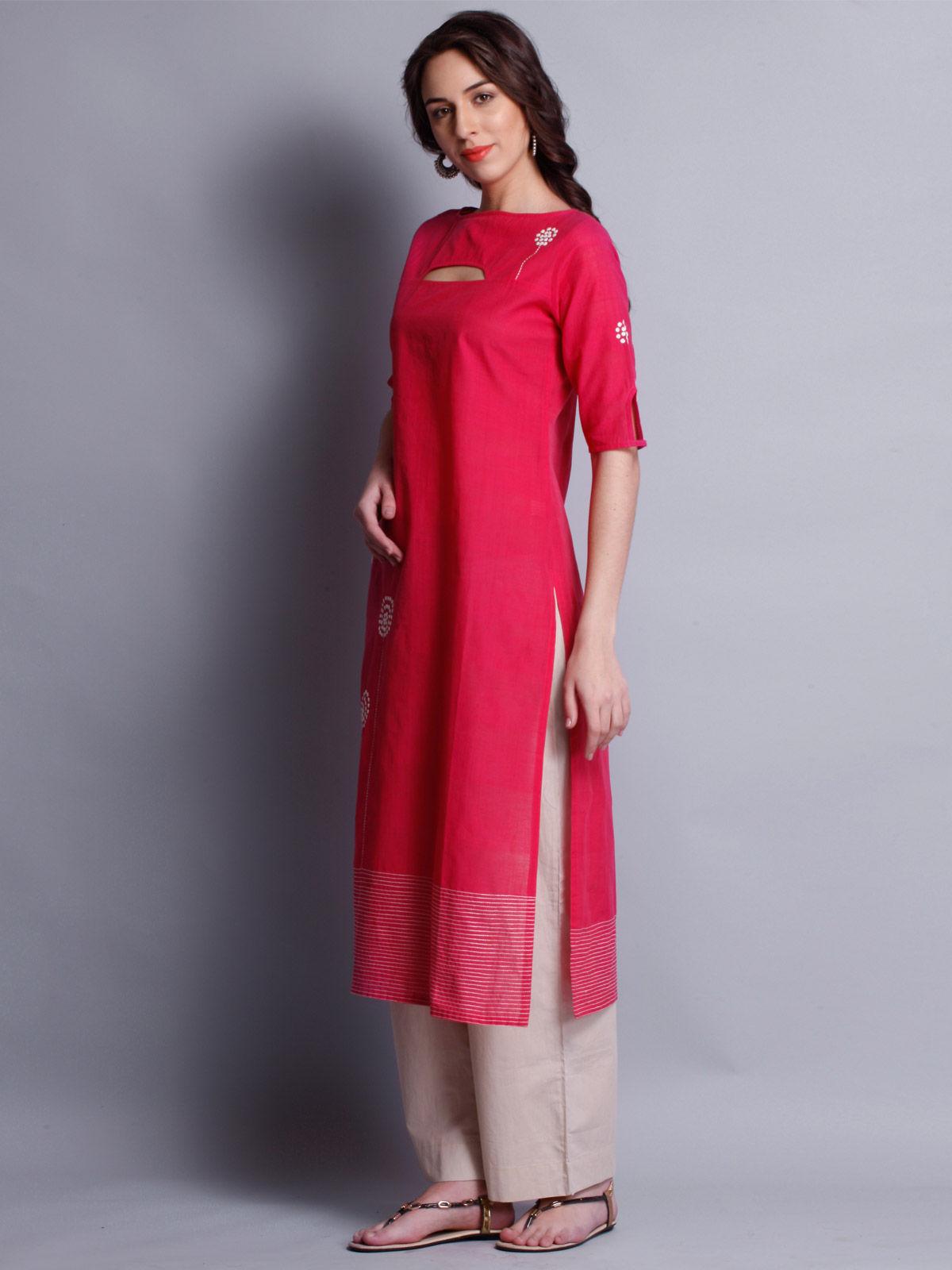 Patti work embroidered pink  long kurta