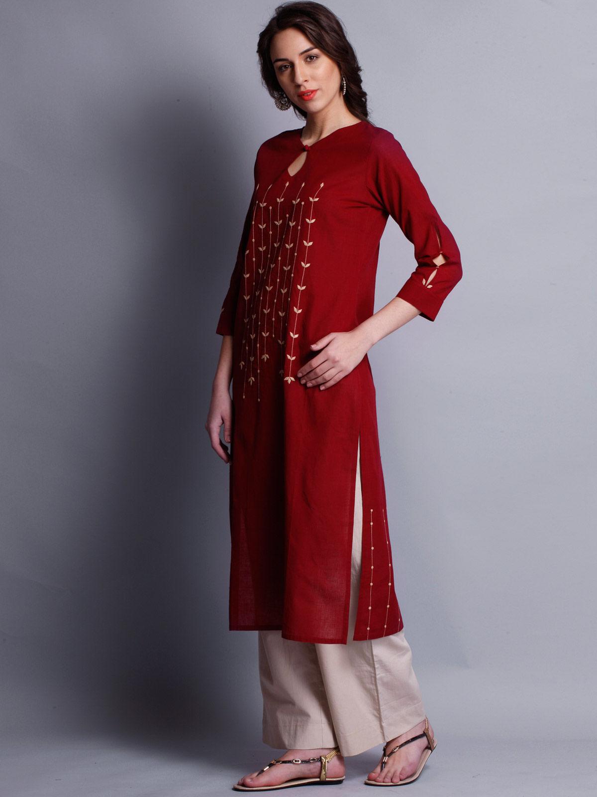 Patti work embroidered red long kurta