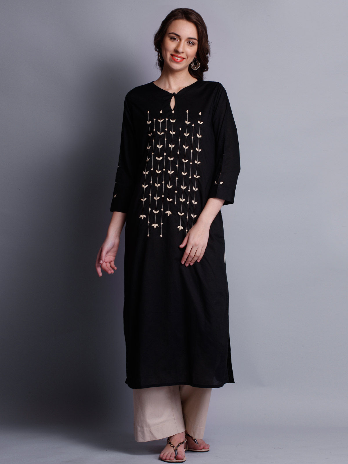 Patti work embroidered black long kurta