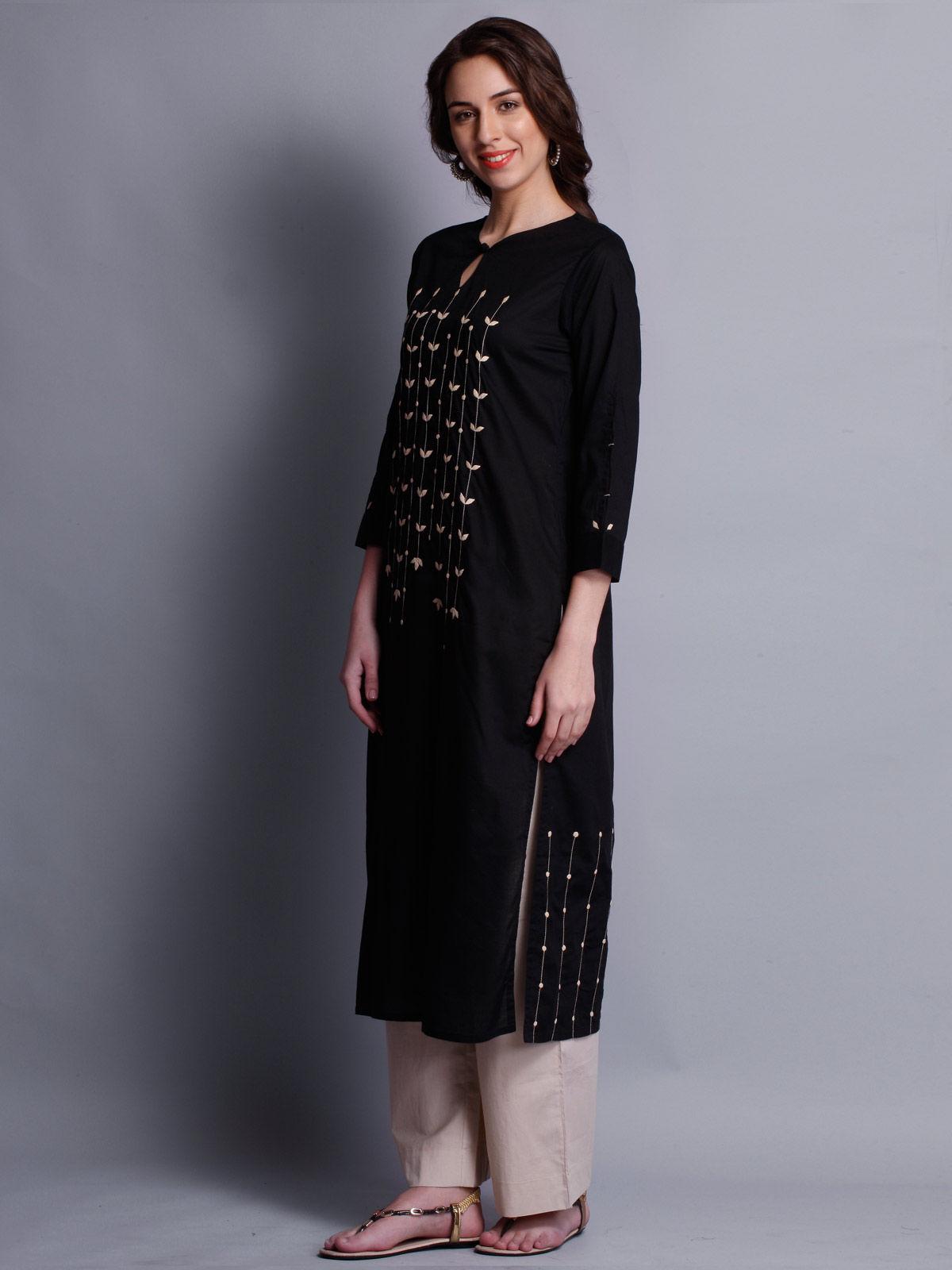 Patti work embroidered black long kurta