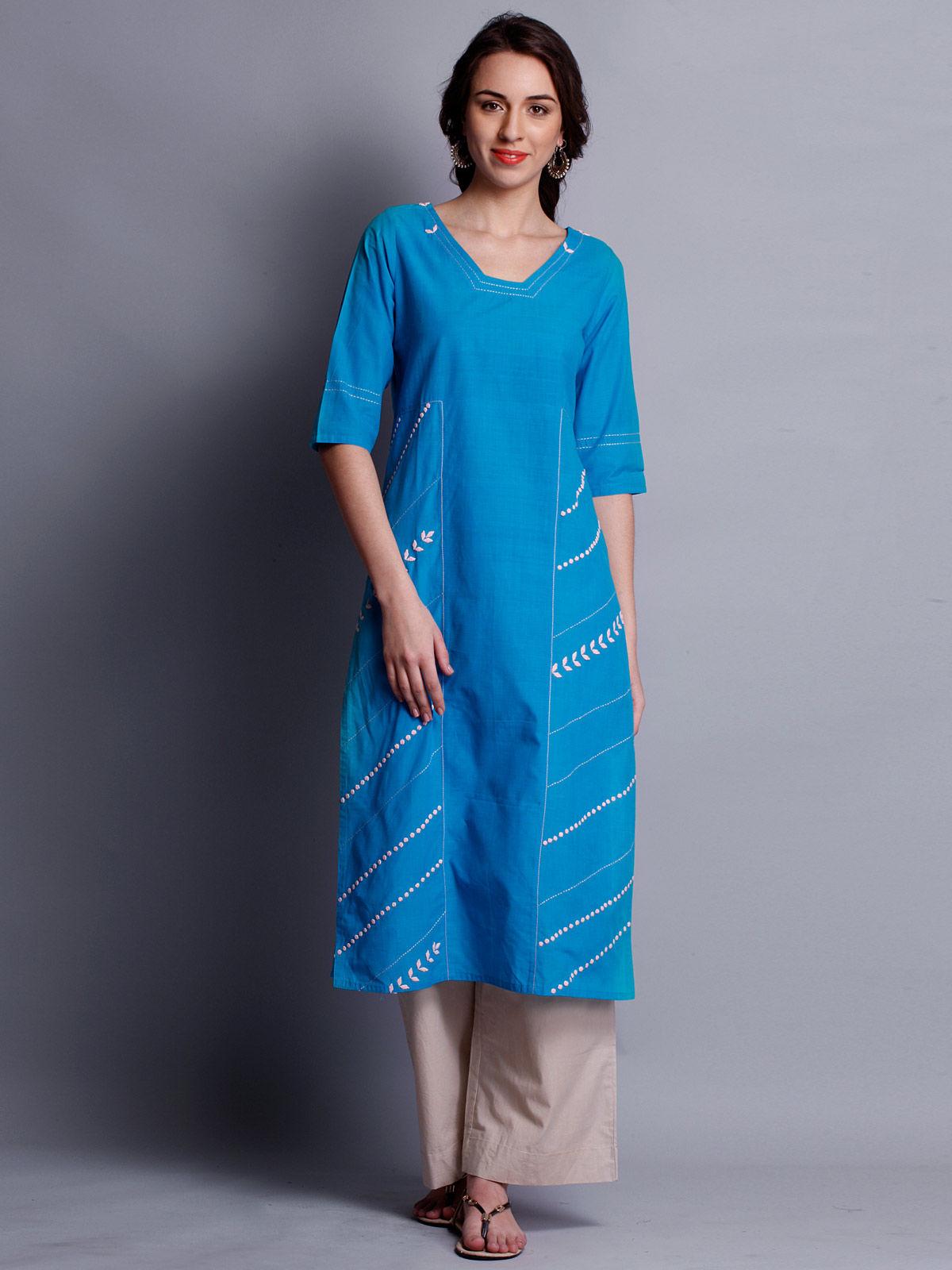 Patti work embroidered blue long kurta