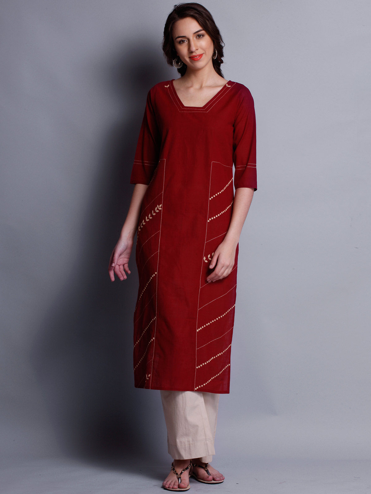 Patti work embroidered red long kurta