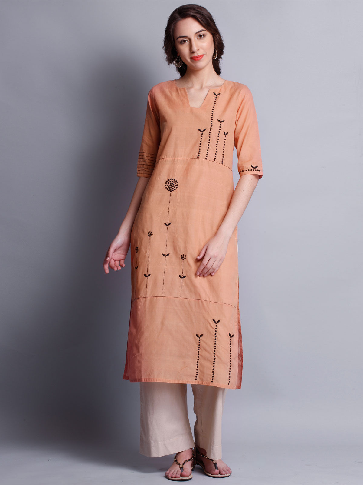 Patti work embroidered beige long kurta