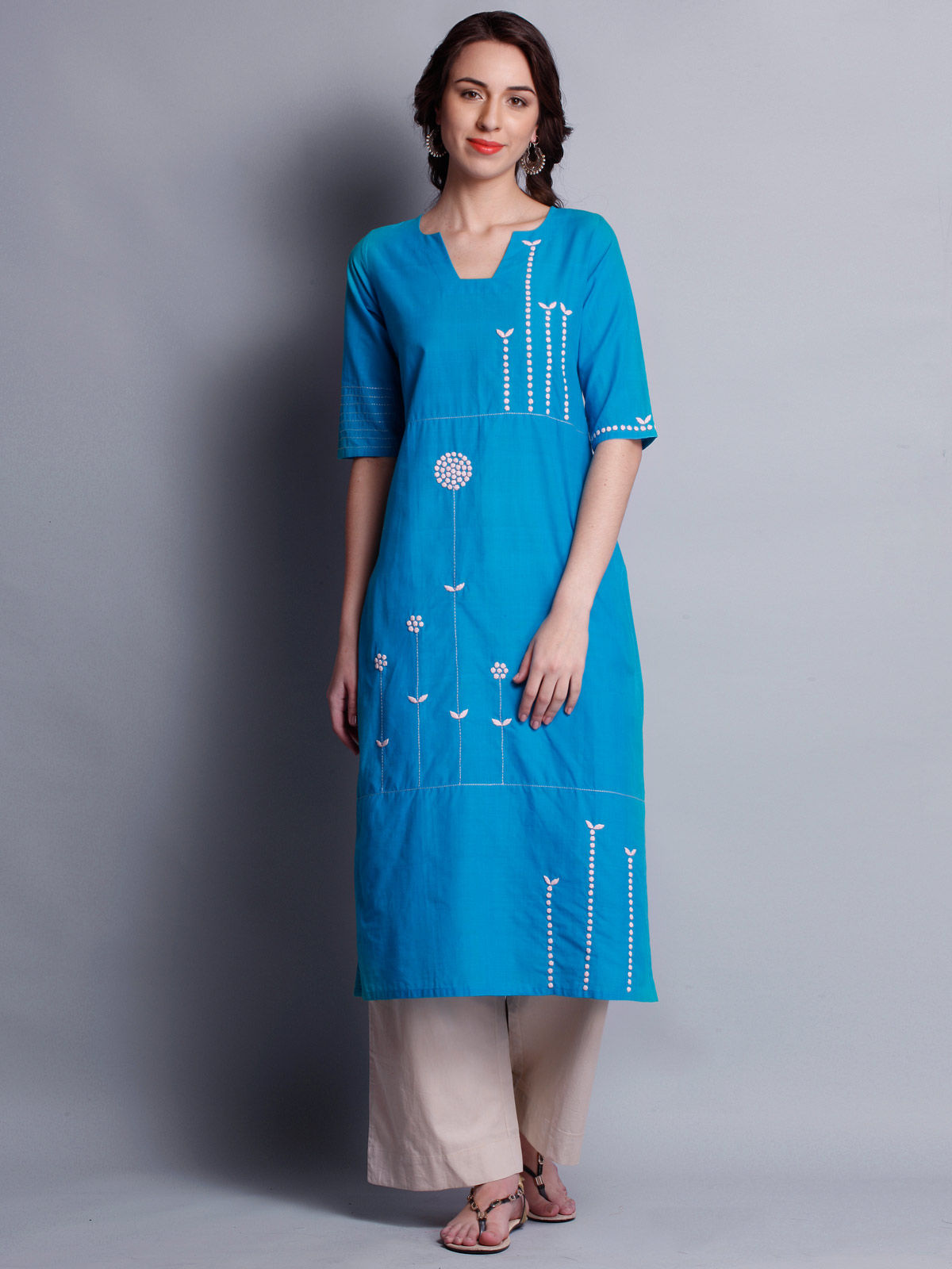 Patti work embroidered blue long kurta