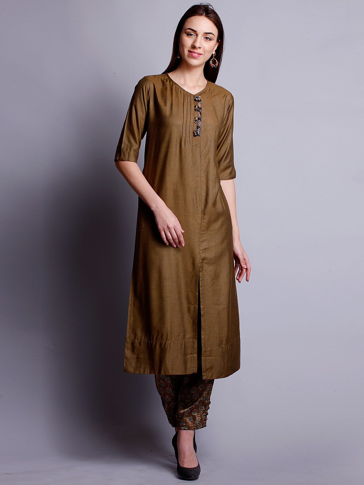 Olive Green cotton silk long kurta with bottom