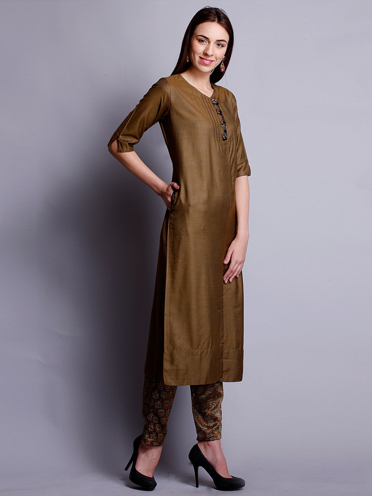 Olive Green cotton silk long kurta with bottom