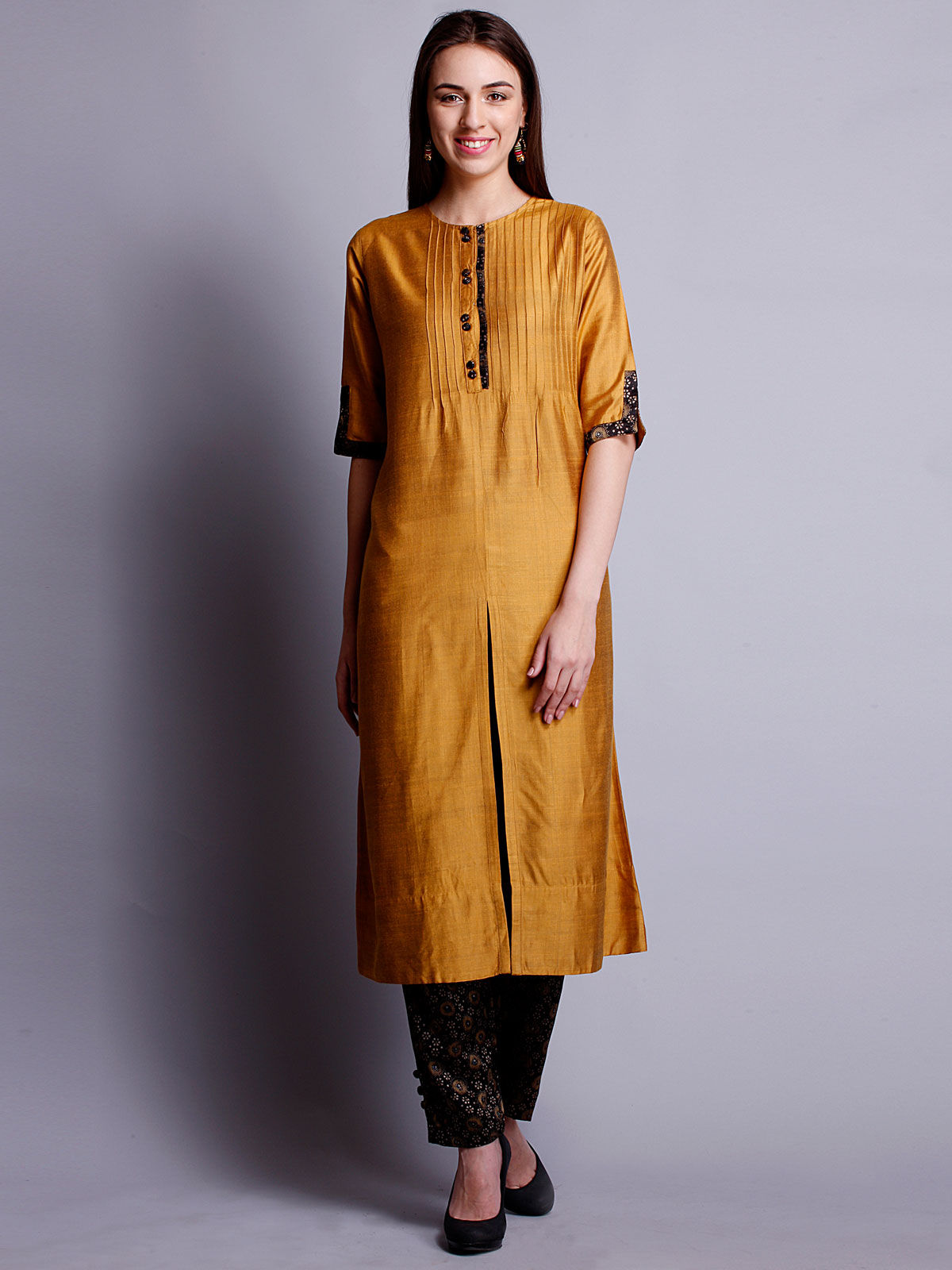 Mustard yellow cotton silk long kurta with bottom