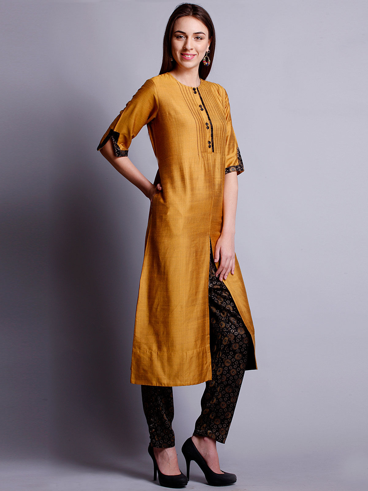 Mustard yellow cotton silk long kurta with bottom