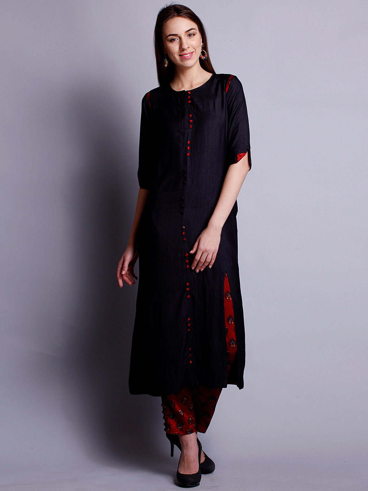 Black cotton silk long kurta with bottom