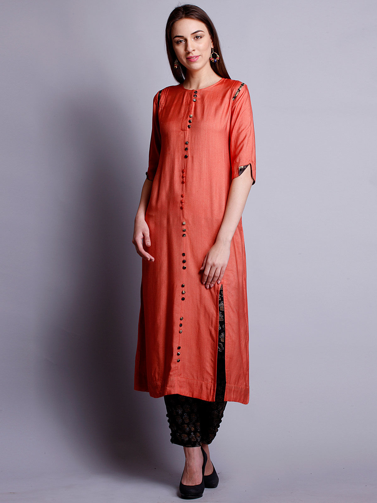 Orange cotton silk long kurta with bottom