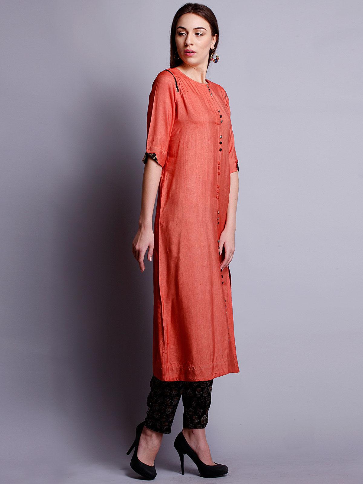 Orange cotton silk long kurta with bottom