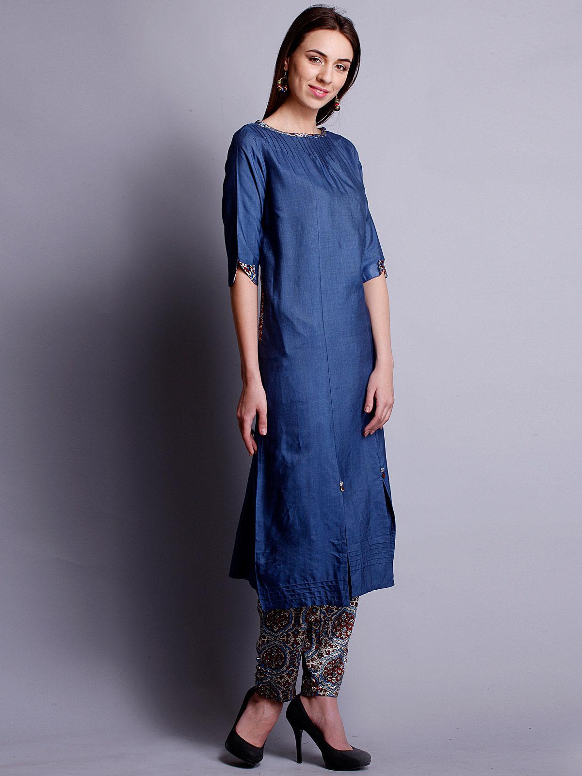 Indigo cotton silk long kurta with bottom