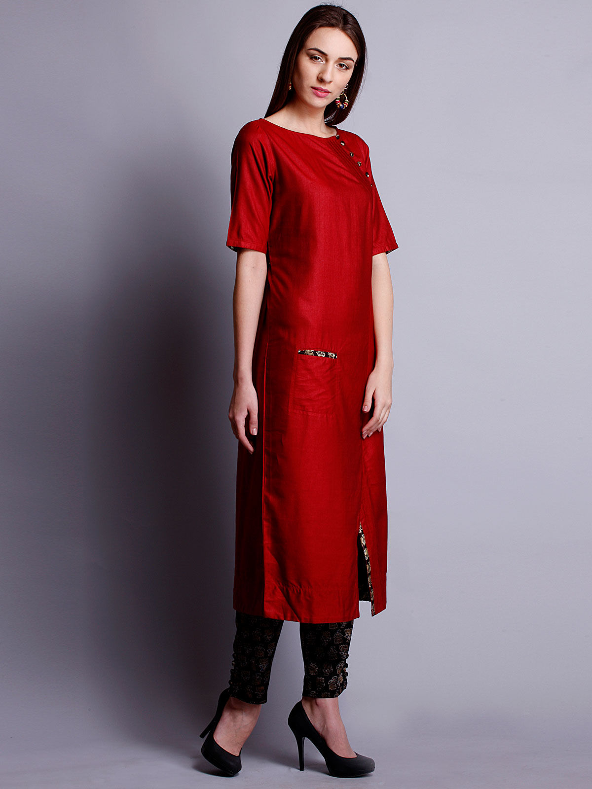 Red color cotton silk long kurta with bottom