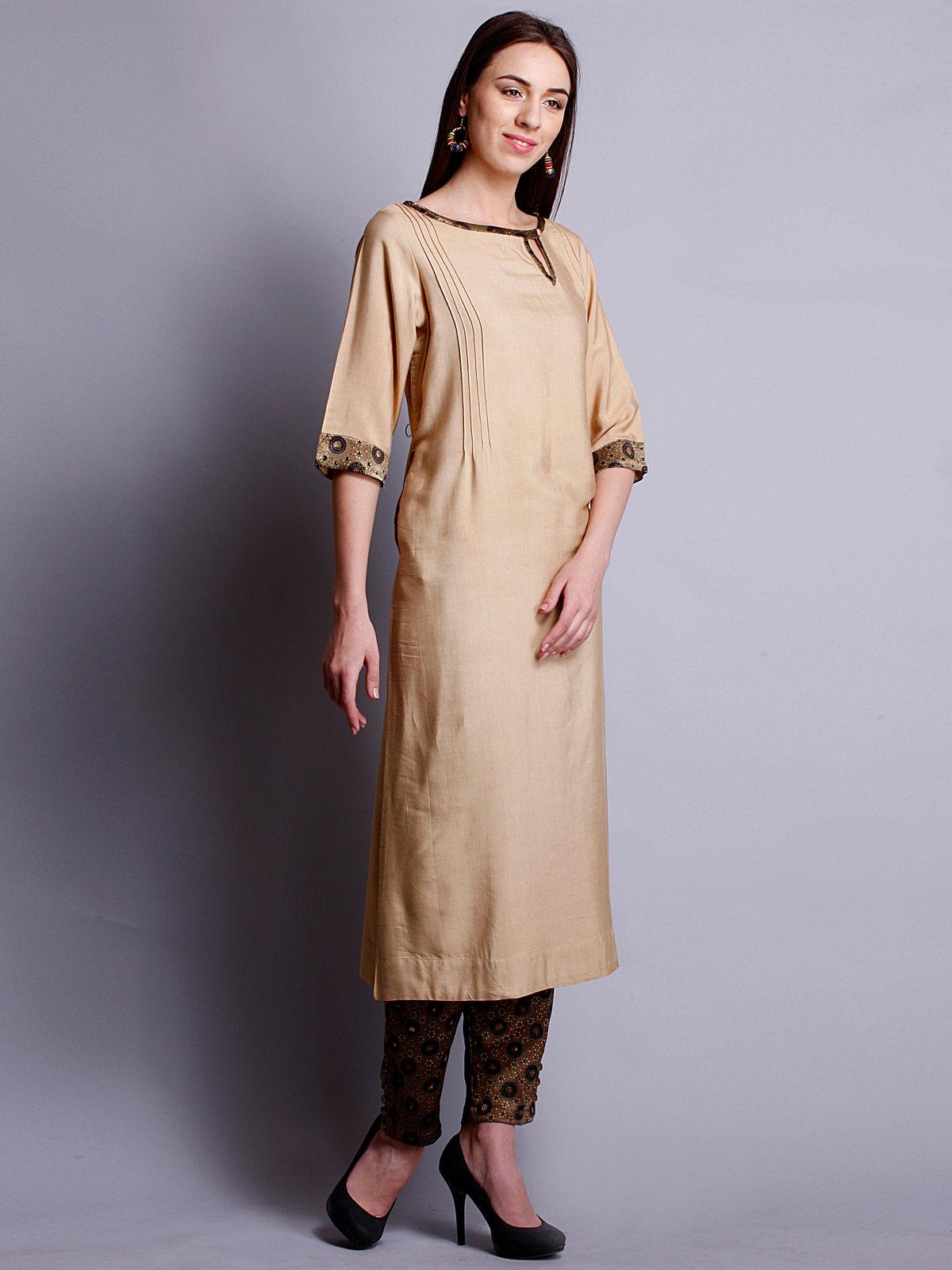Beige cotton silk long kurta with bottom