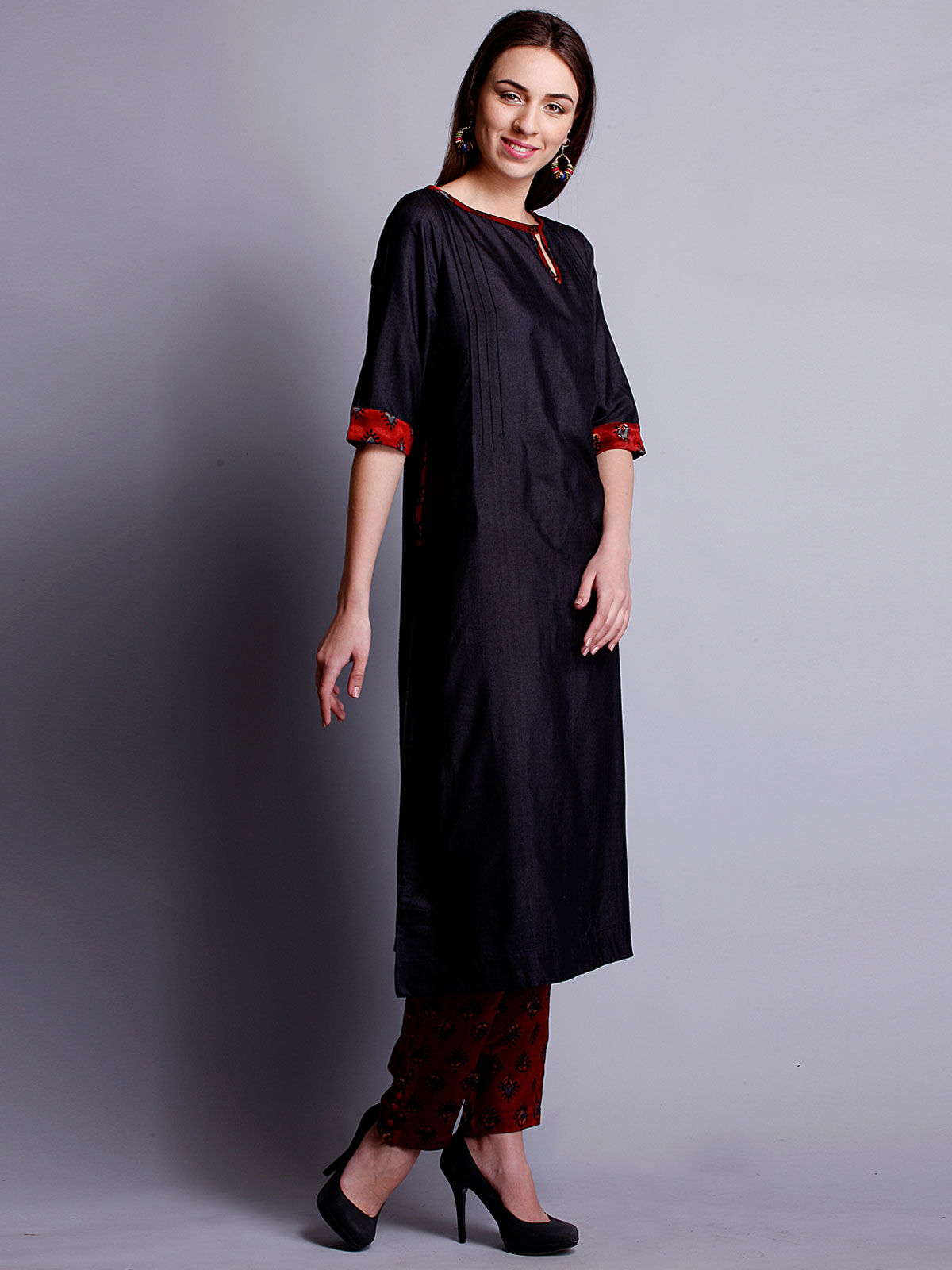 Black cotton silk long kurta with bottom