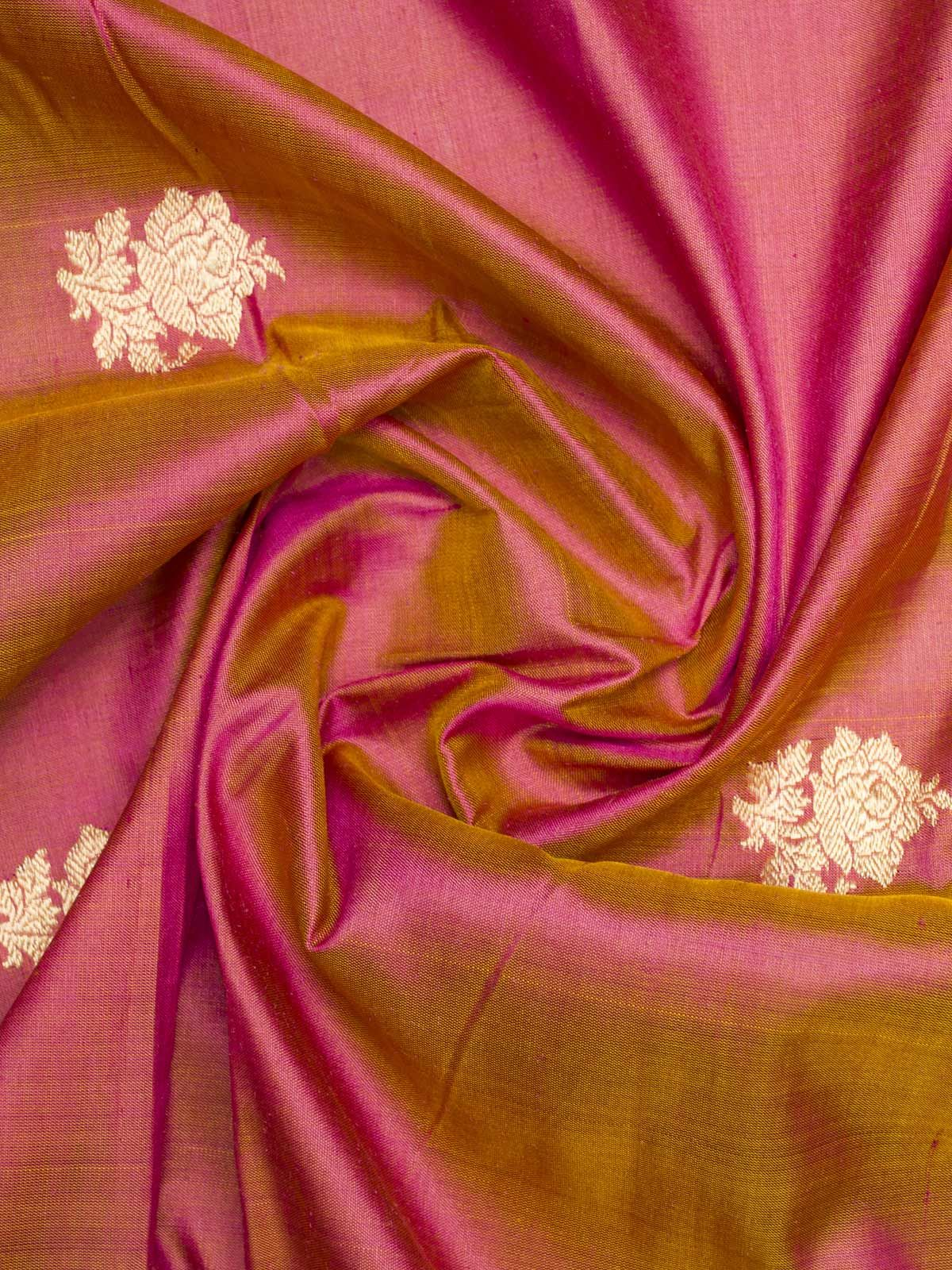 Gloden blush red woven zari booti banarsi silk fabric