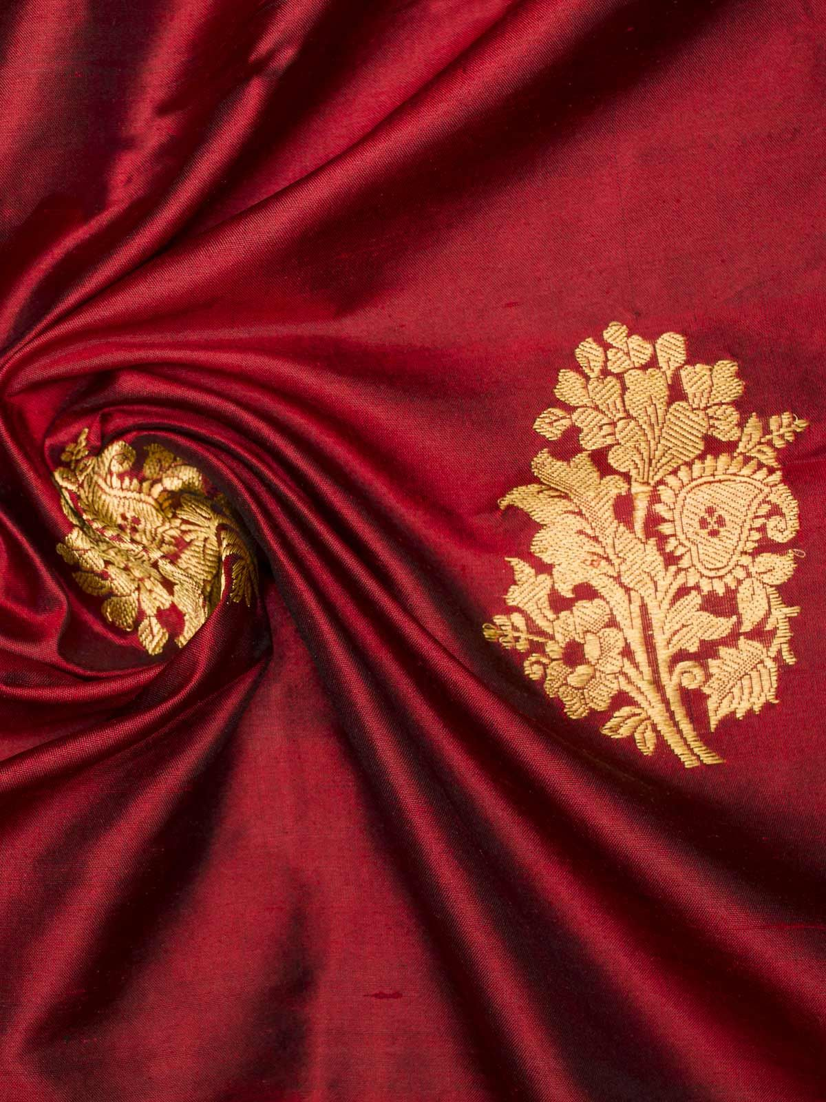 Scarlett red color block printed banrsi silk fabric