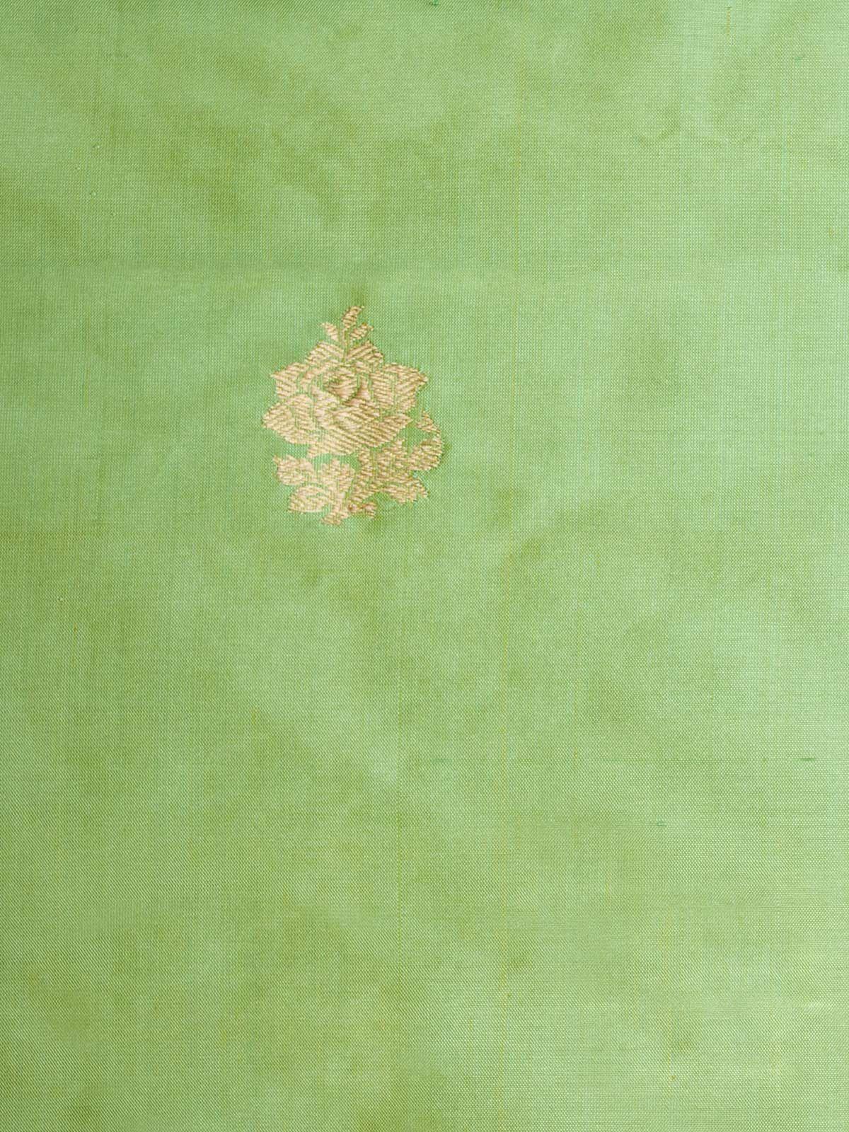 Mint green block printed banarsi silk