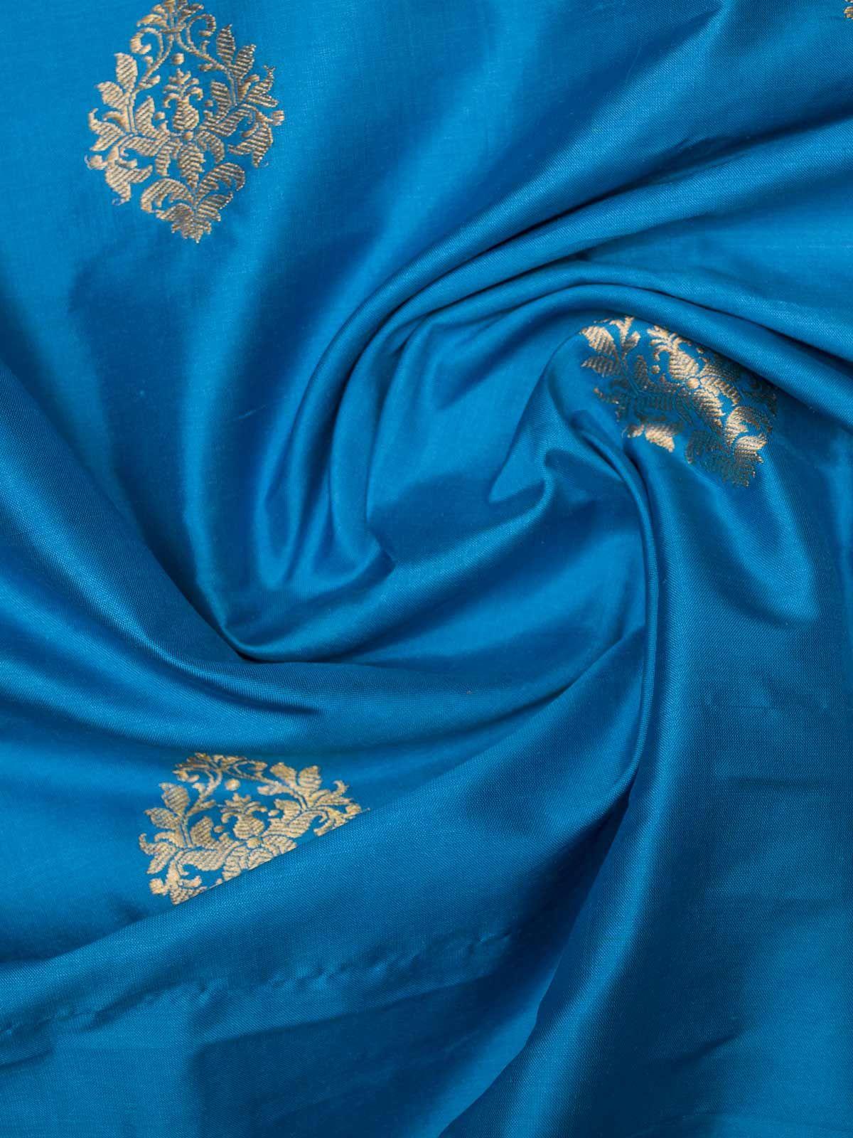 Sky blue woven zari booty banarsi silk fabric
