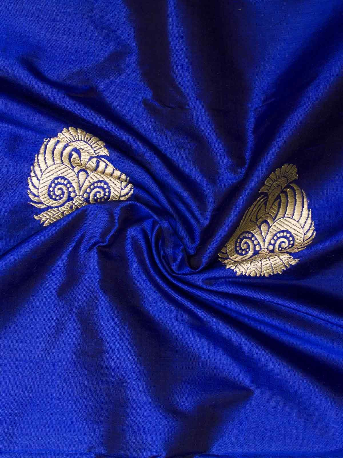 Blue color golden block printed banarsi silk