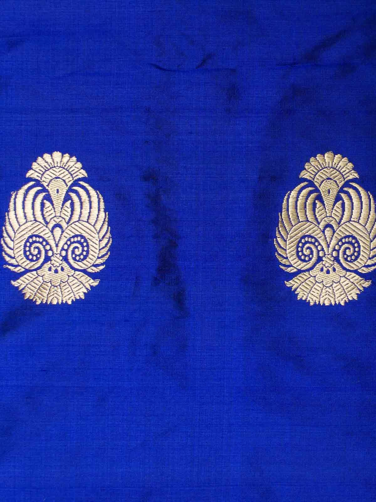 Blue golden woven zari booti banarsi silk fabric