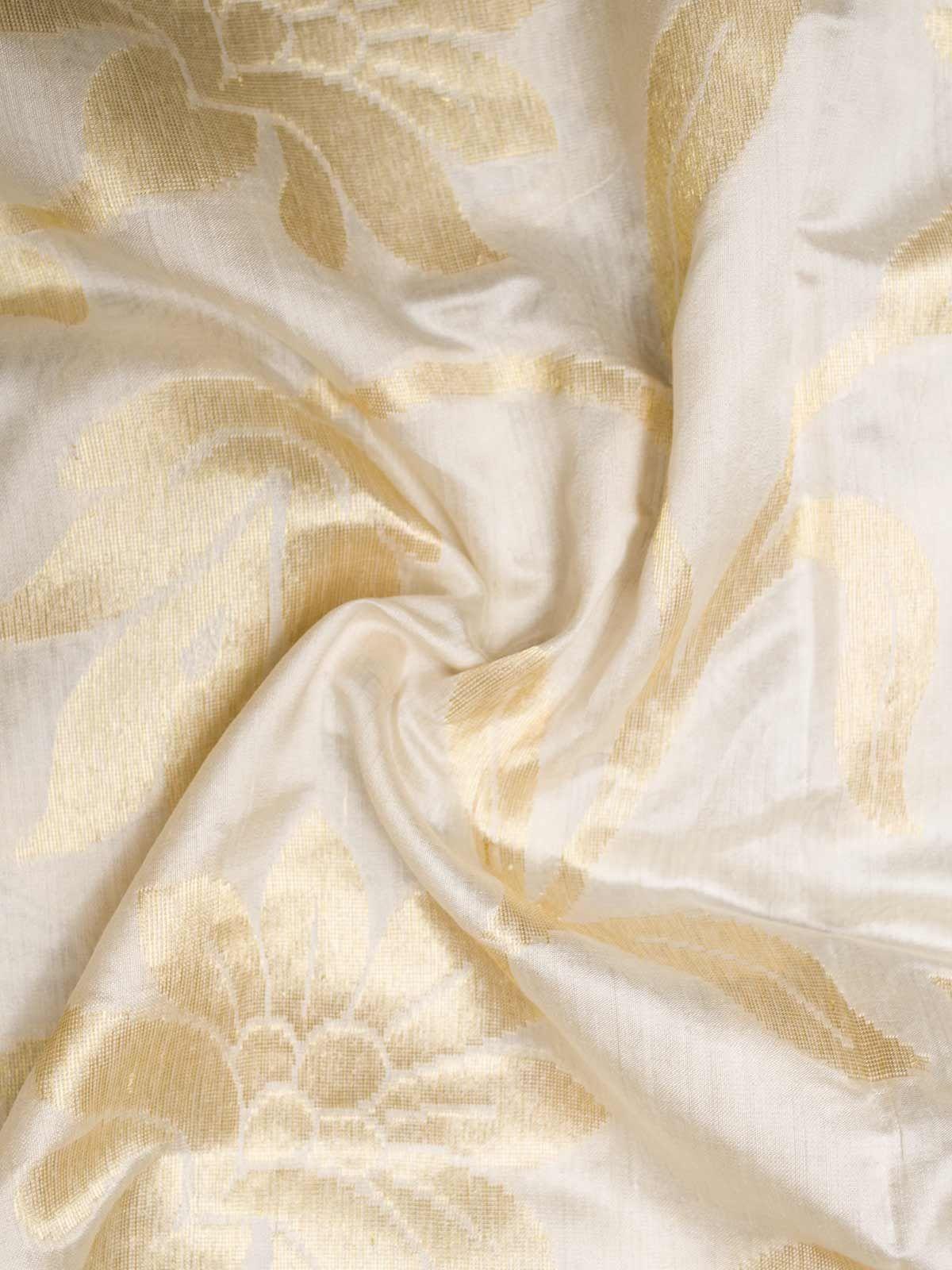 Light brown block printed muga silk fabric