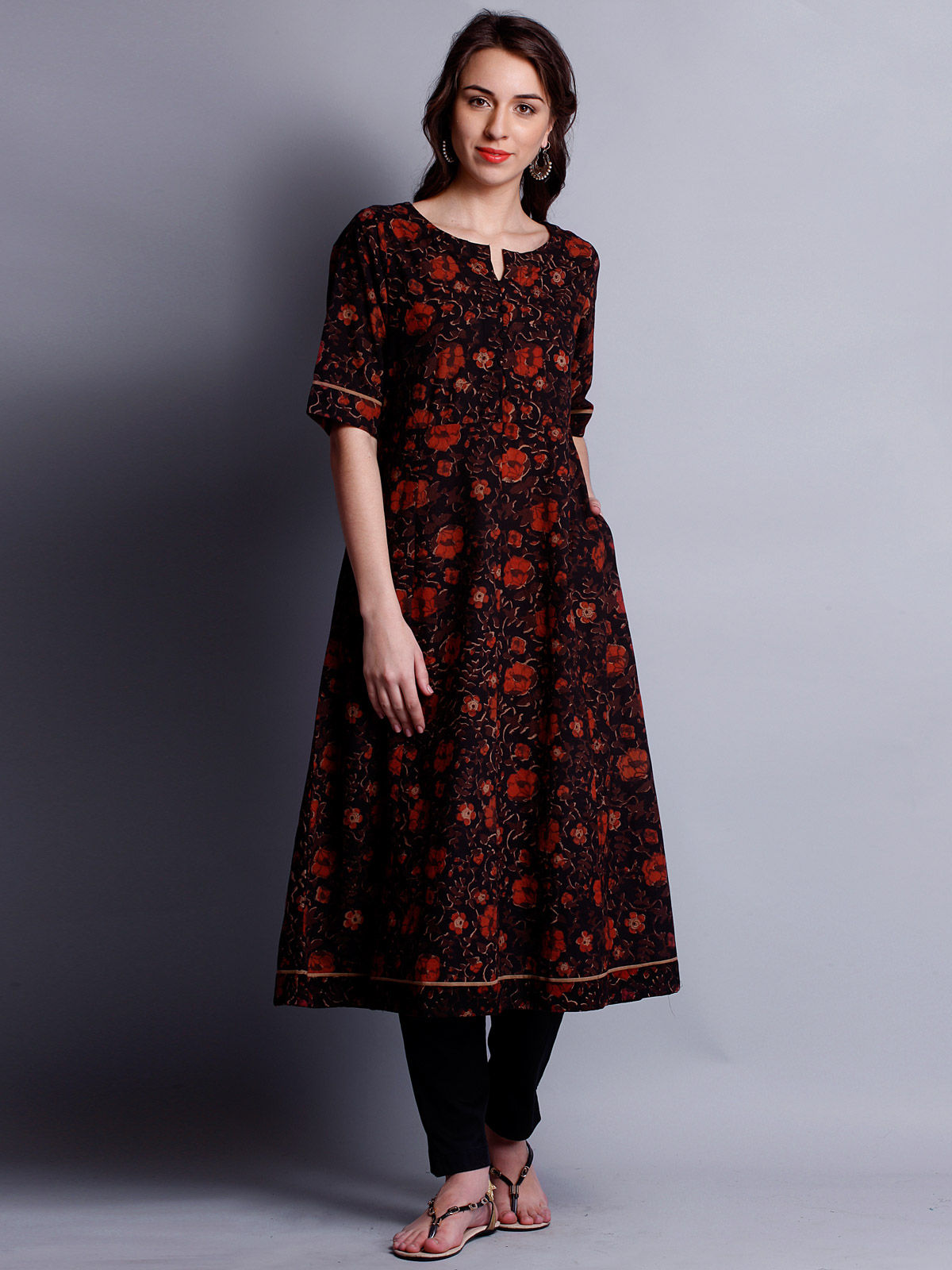Block Printed 3/4 th sleeves ankle length Tunic