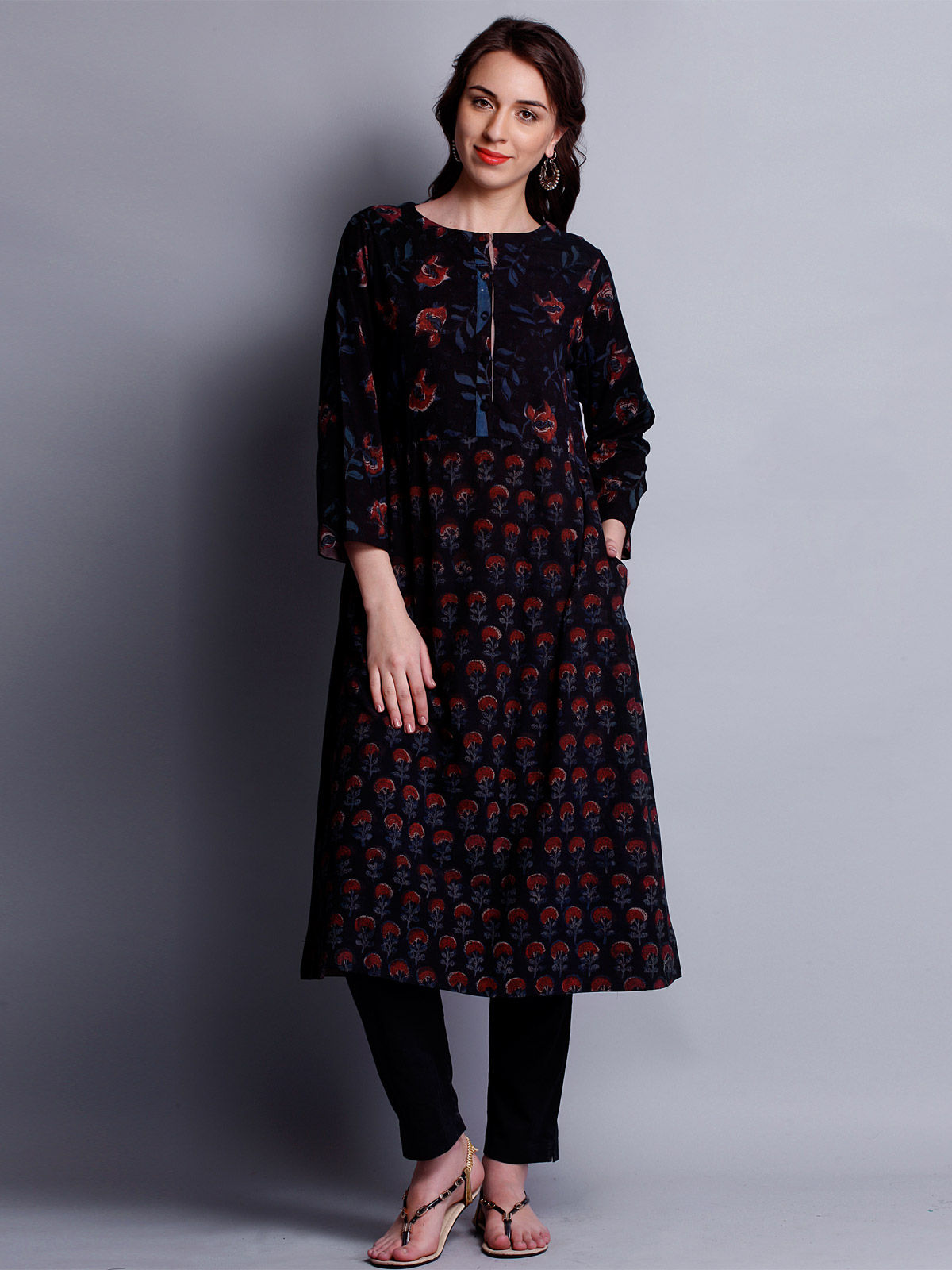 Block Printed full sleeves ankle length Tunic