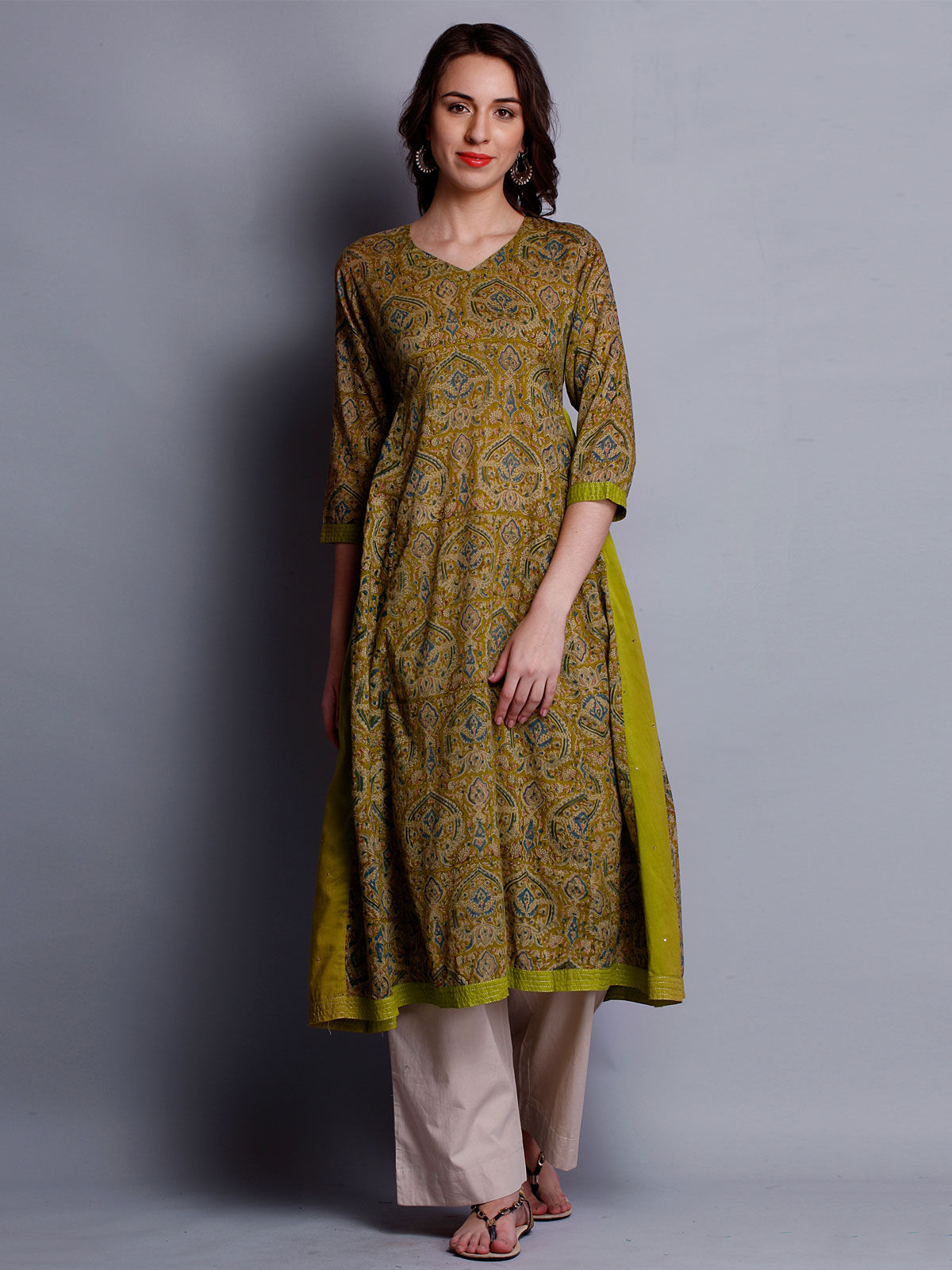 Block paisley printed 3/4th sleeves kurta