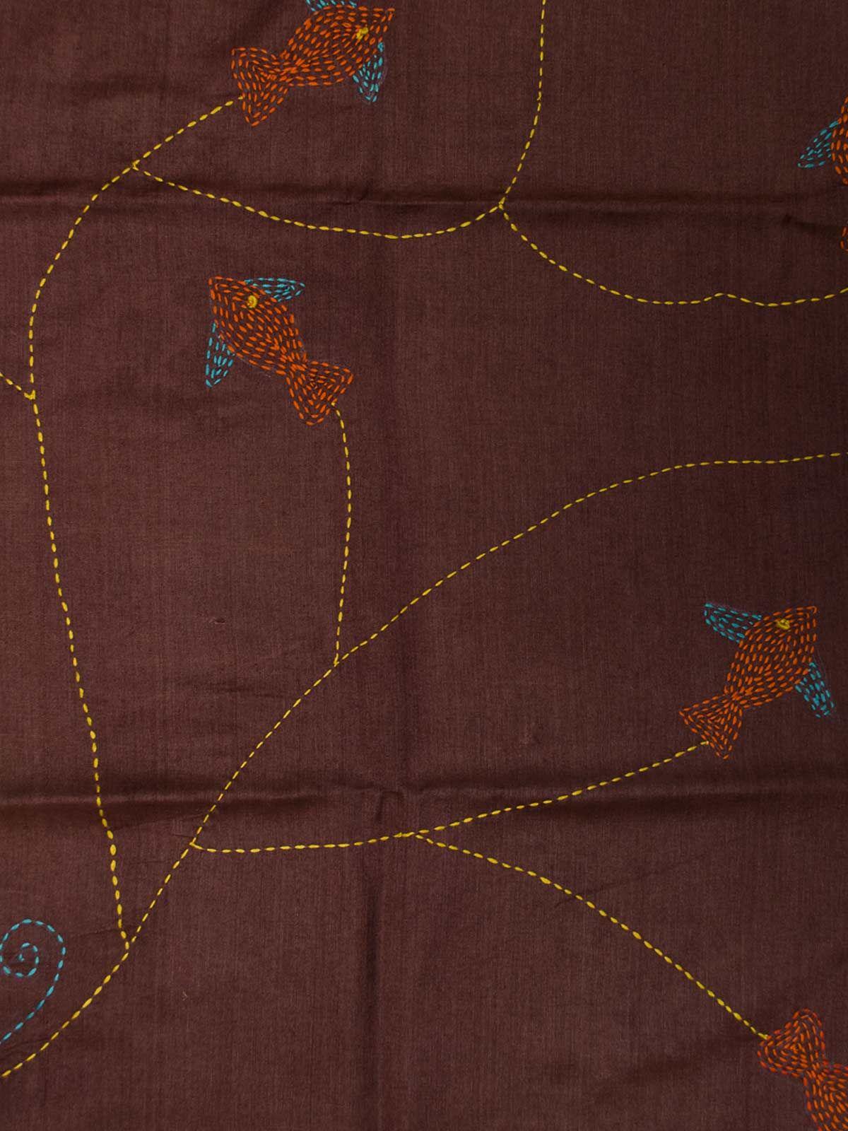 Marron embroided silk cotton stole