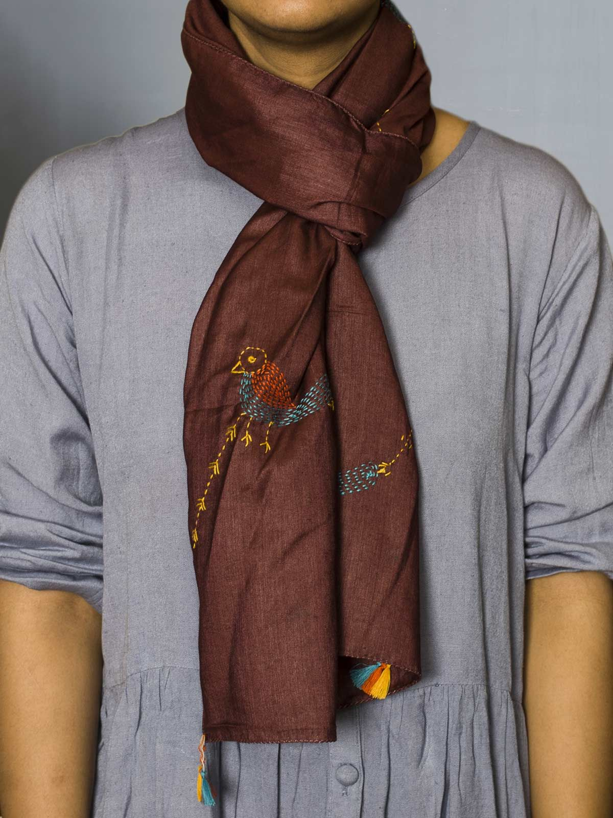 Marron embroided silk cotton stole