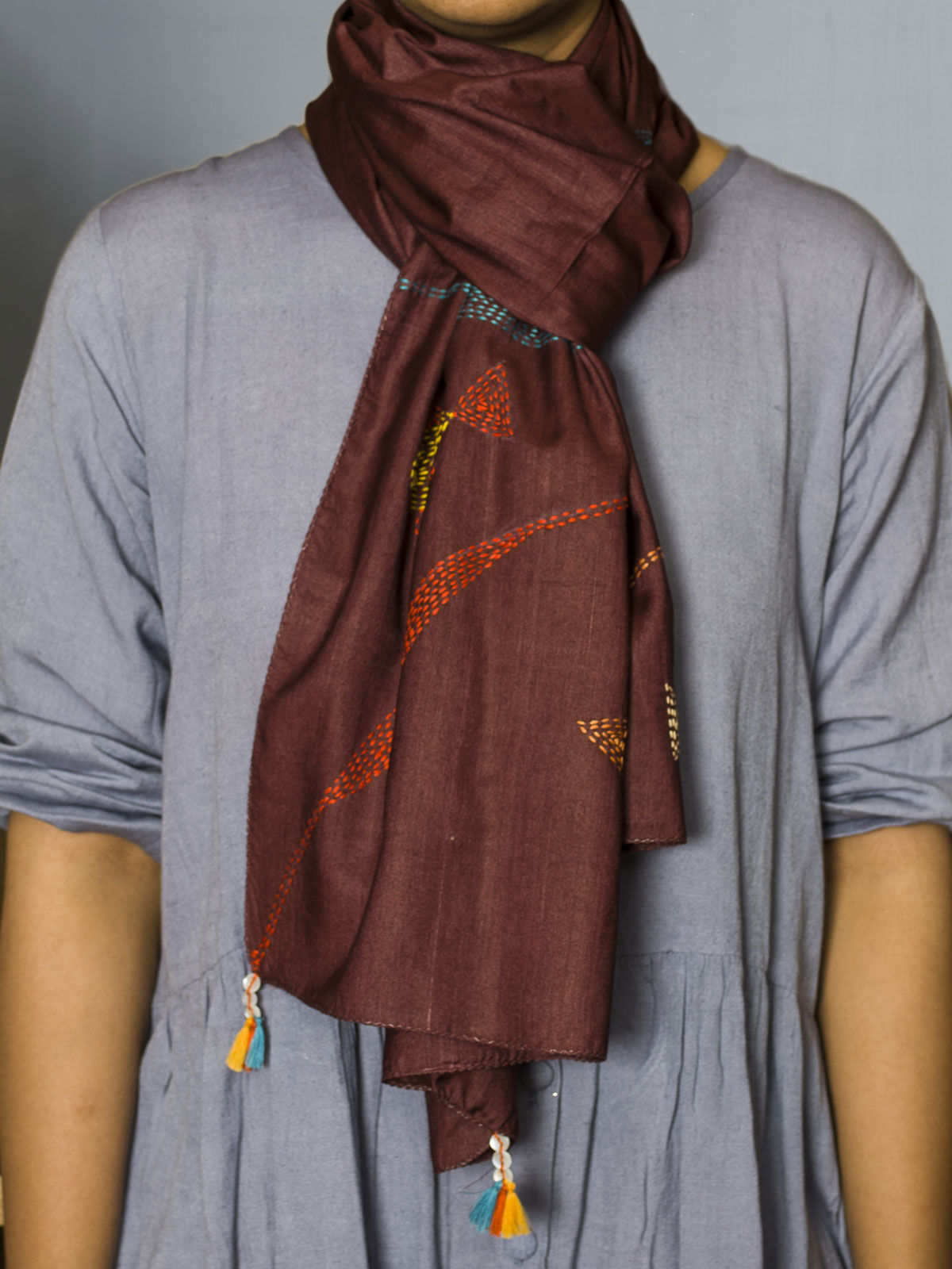 Maroon Hand embroidered silk cotton stole