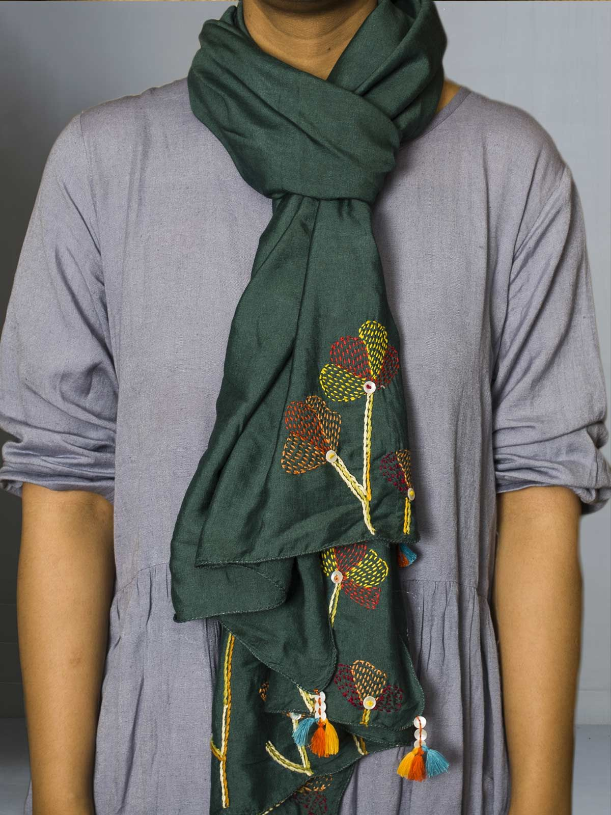 Green Hand embroidered silk cotton stole