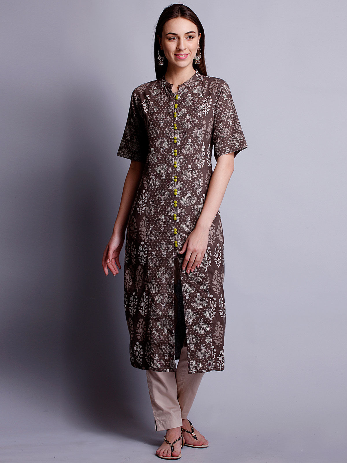 Dark beige color block printed  long kurta
